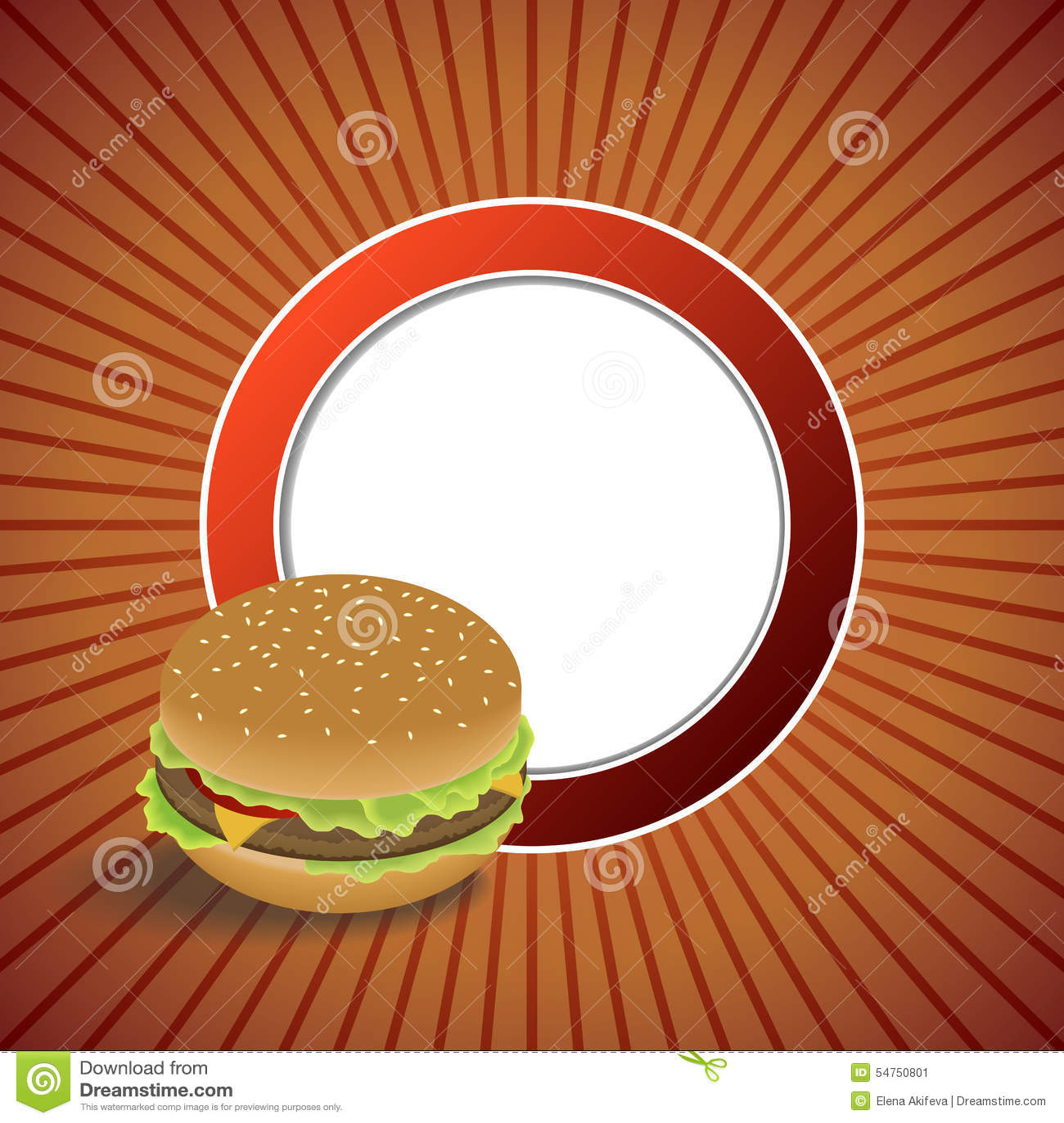 抽象背景食物汉堡包红色橙色圈子框架例证