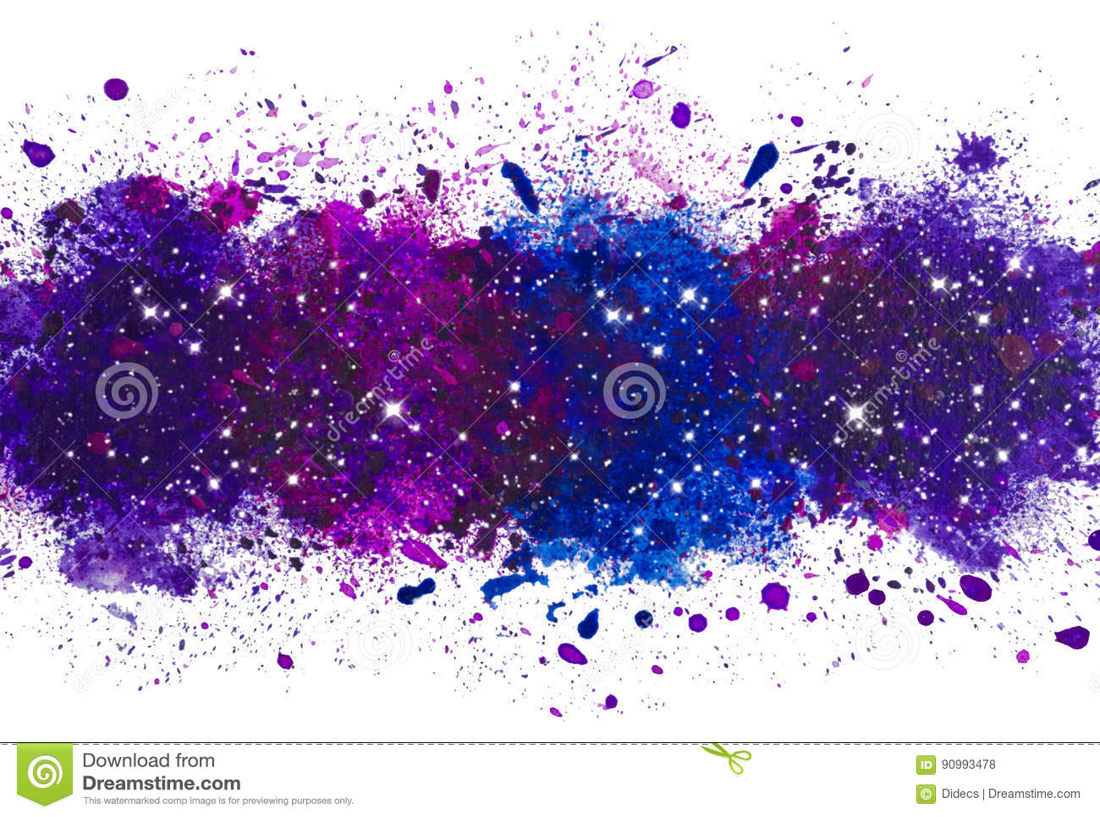 抽象艺术性的水彩油漆飞溅背景,与发光的星系担任主角