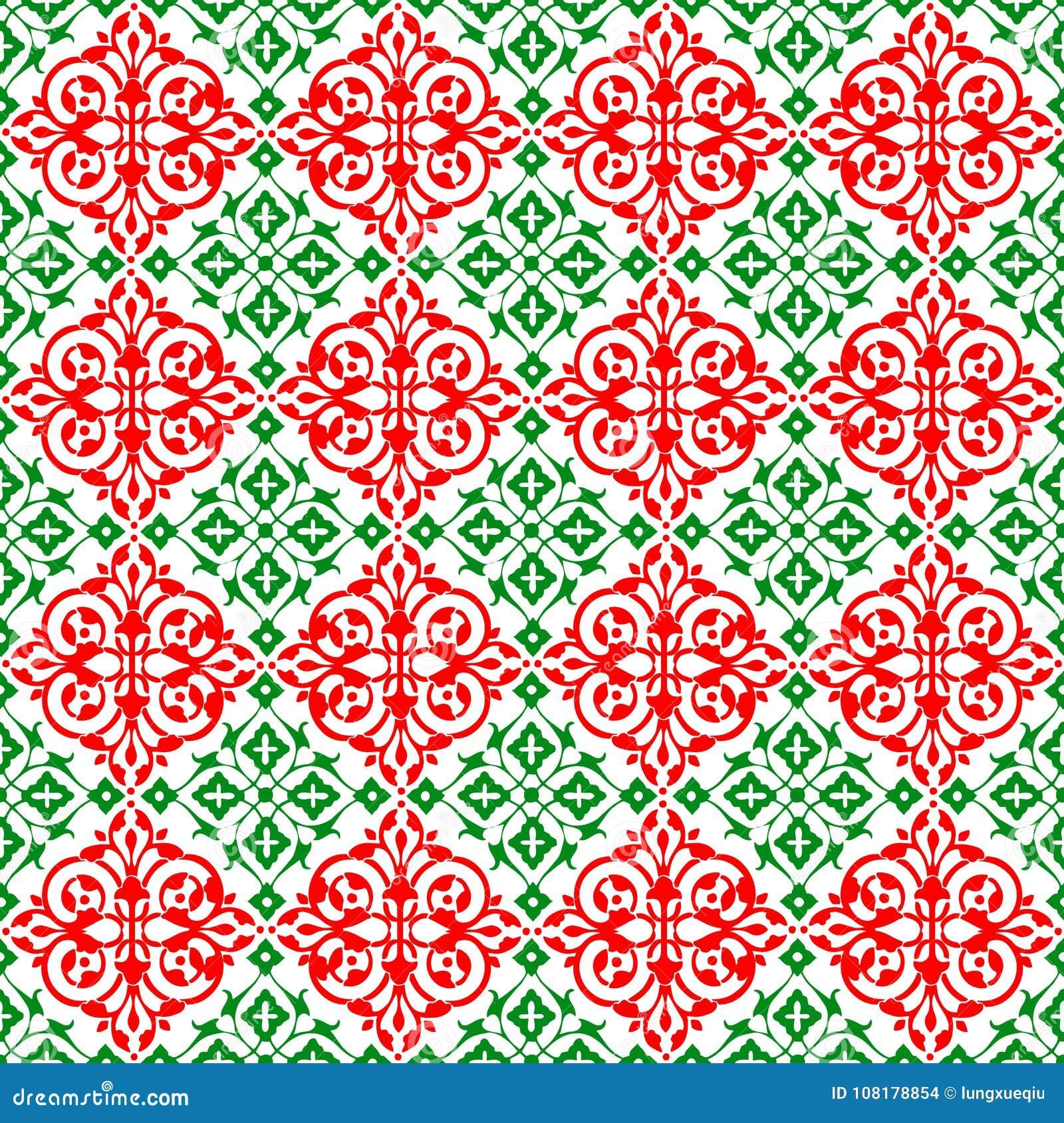 抽象装饰东方红色绿色美好的皇家葡萄酒春天花卉无缝的样式纹理墙纸