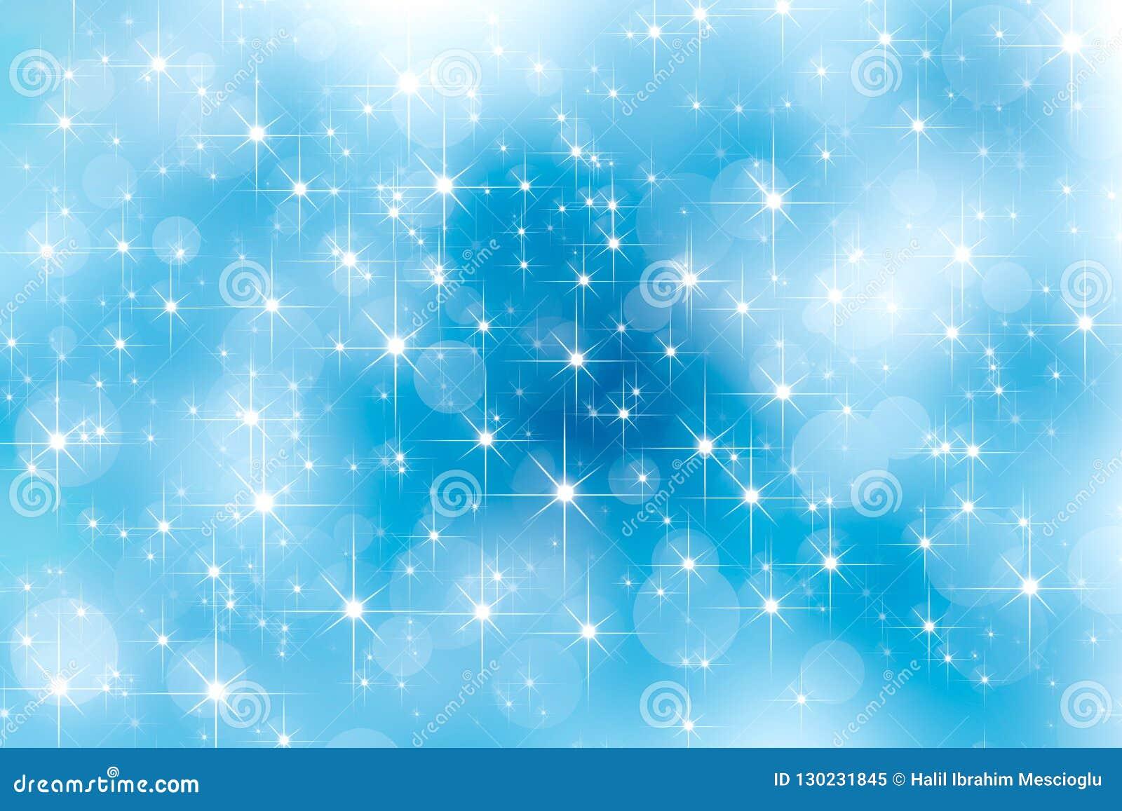 抽象透镜火光shinnig星和明亮的bokeh作用对天空蔚蓝 发光的光线影响 背景圣诞节新年度
