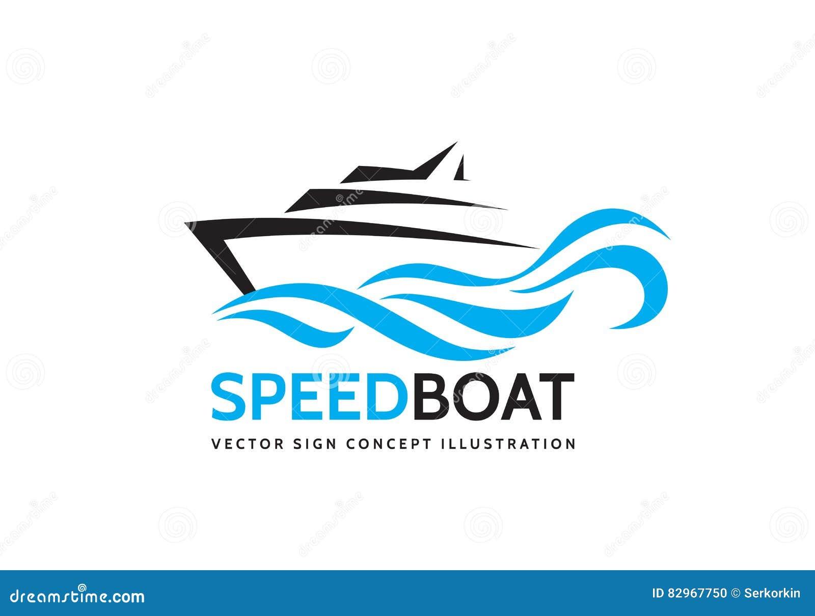 抽象速度小船和蓝色海挥动-导航企业商标模板概念例证 海洋船图表创造性的标志