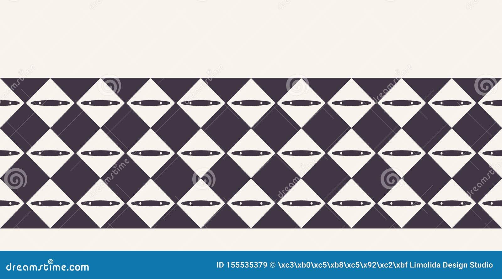 抽象金刚石棋盘边界背景 单色手拉的纹理例证 现代经典检查