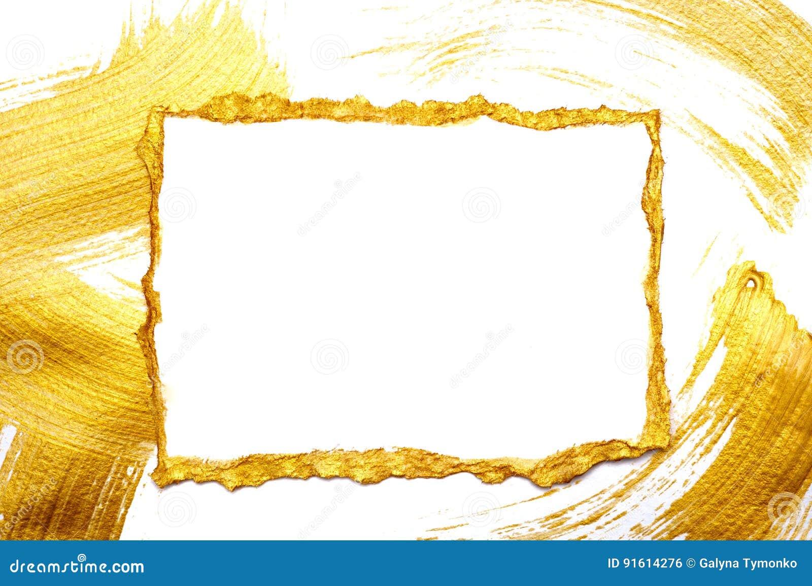 抽象金子绘了在白色的框架并且镀金了与地方的背景您的文本的