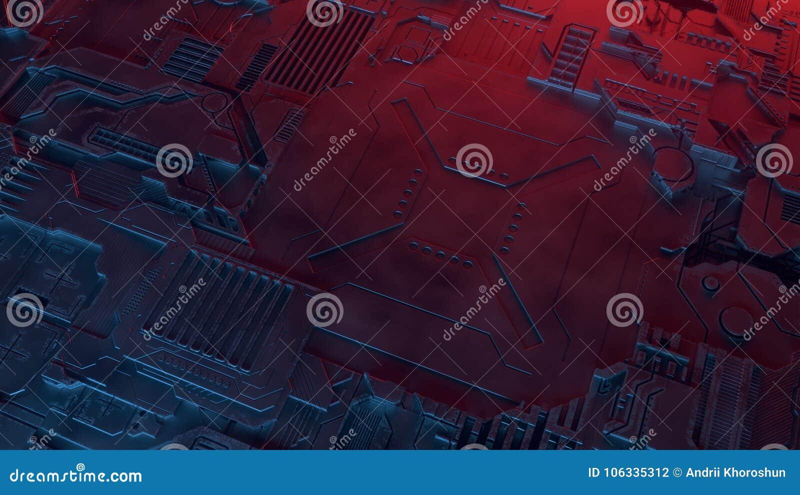 抽象金属模式 色的光阐明的未来派techno背景 数字式3d例证