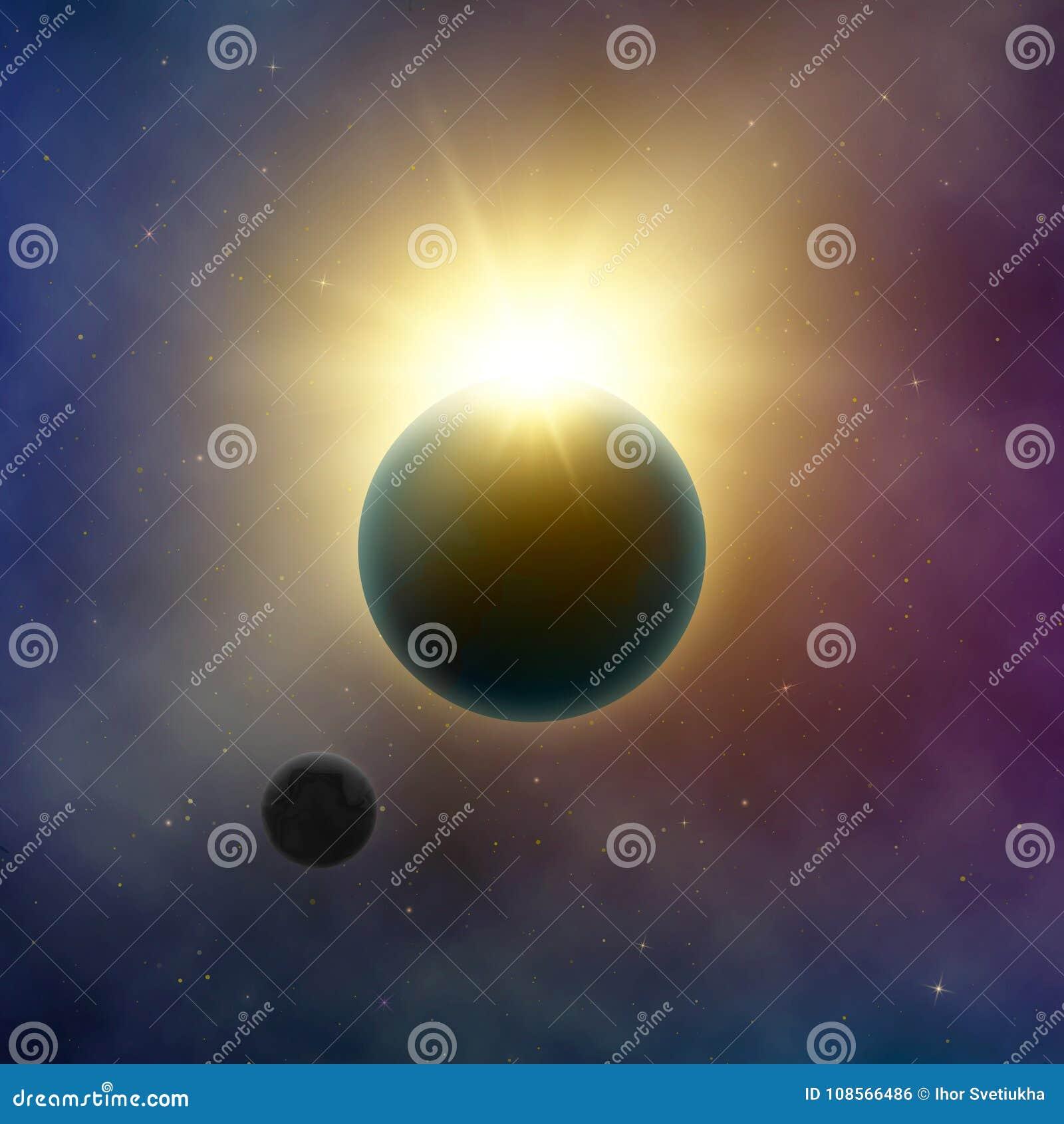 抽象银河星系 背景黑色设计太阳蚀的例证 在行星地球和月亮后的太阳亮光 满天星斗的夜空 向量背景