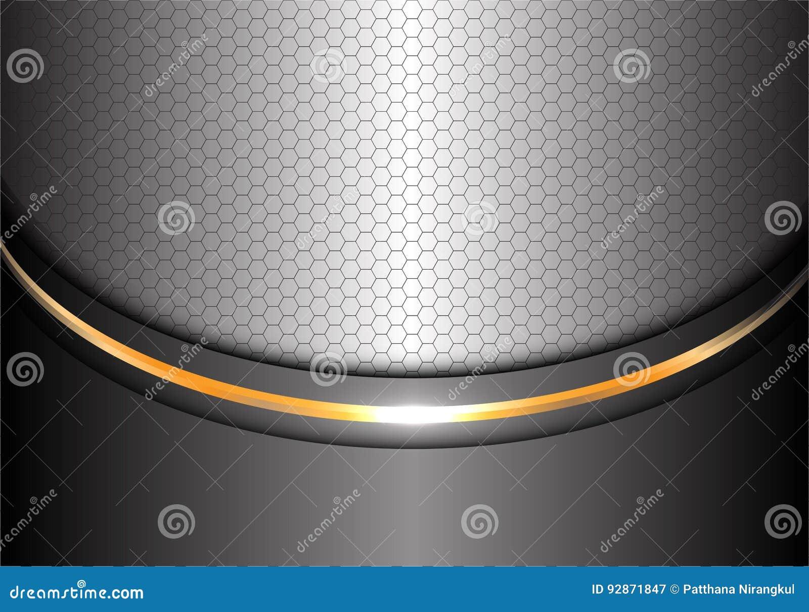 抽象银色金线曲线六角形滤网设计现代豪华背景纹理传染媒介