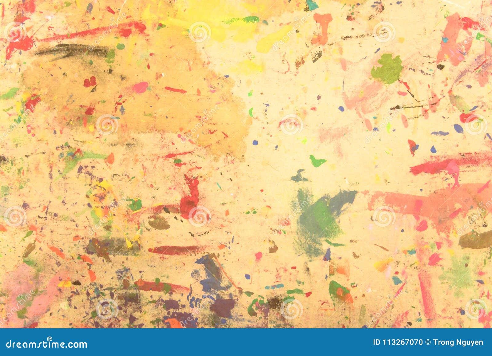 抽象难看的东西丙烯酸酯手画在帆布背景