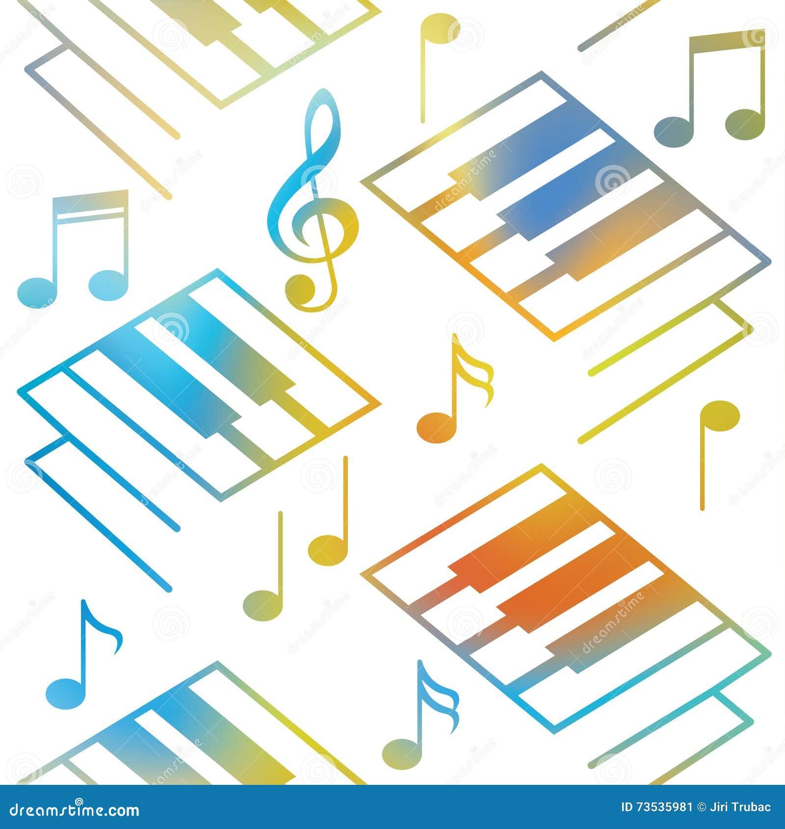 抽象音乐背景 钢琴钥匙和音符 无缝的模式