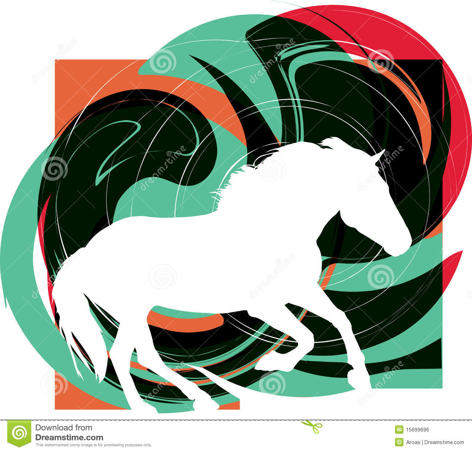 抽象马剪影