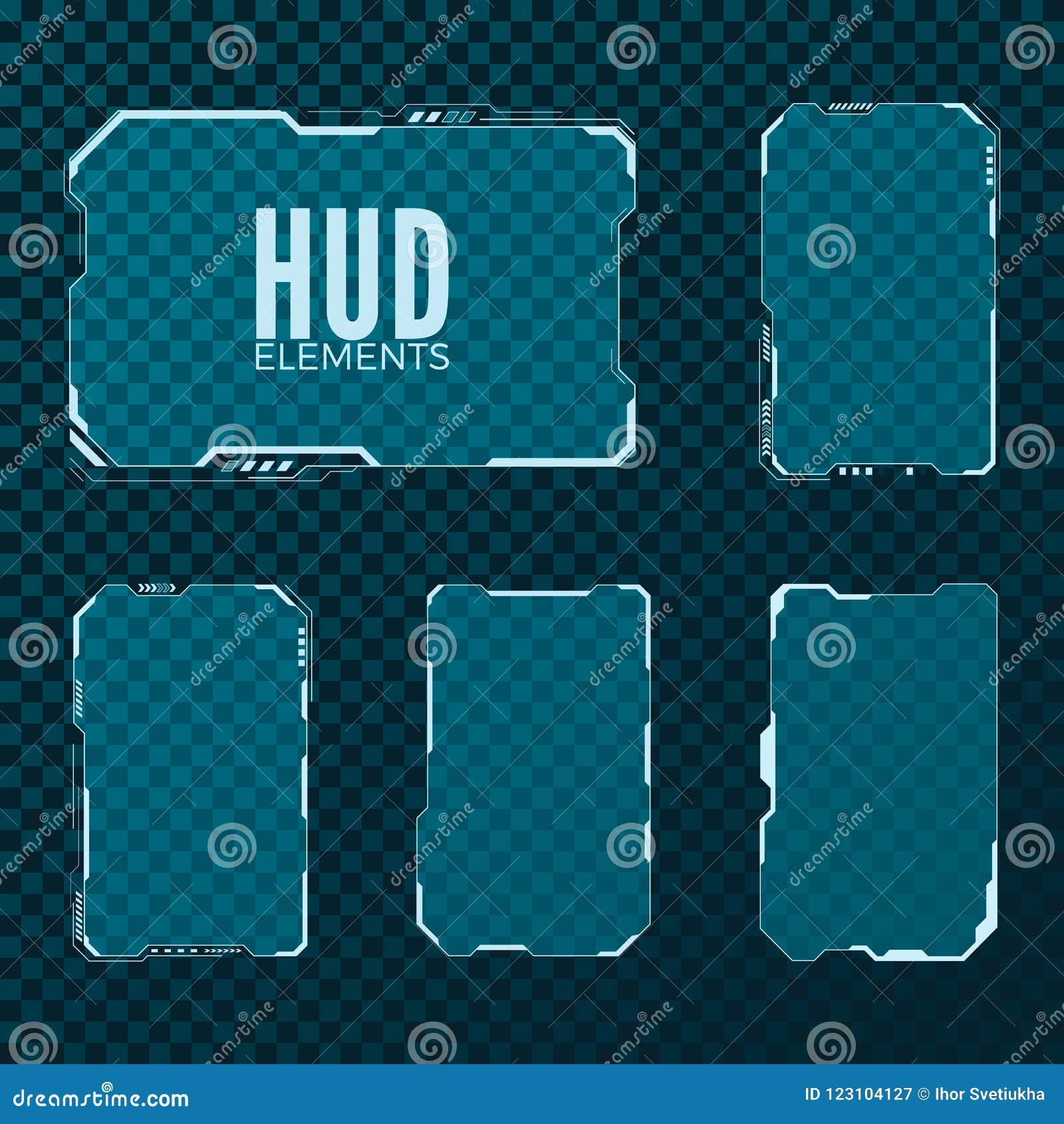 抽象高科技科学幻想小说未来派模板设计版面 HUD元素集 也corel凹道例证向量