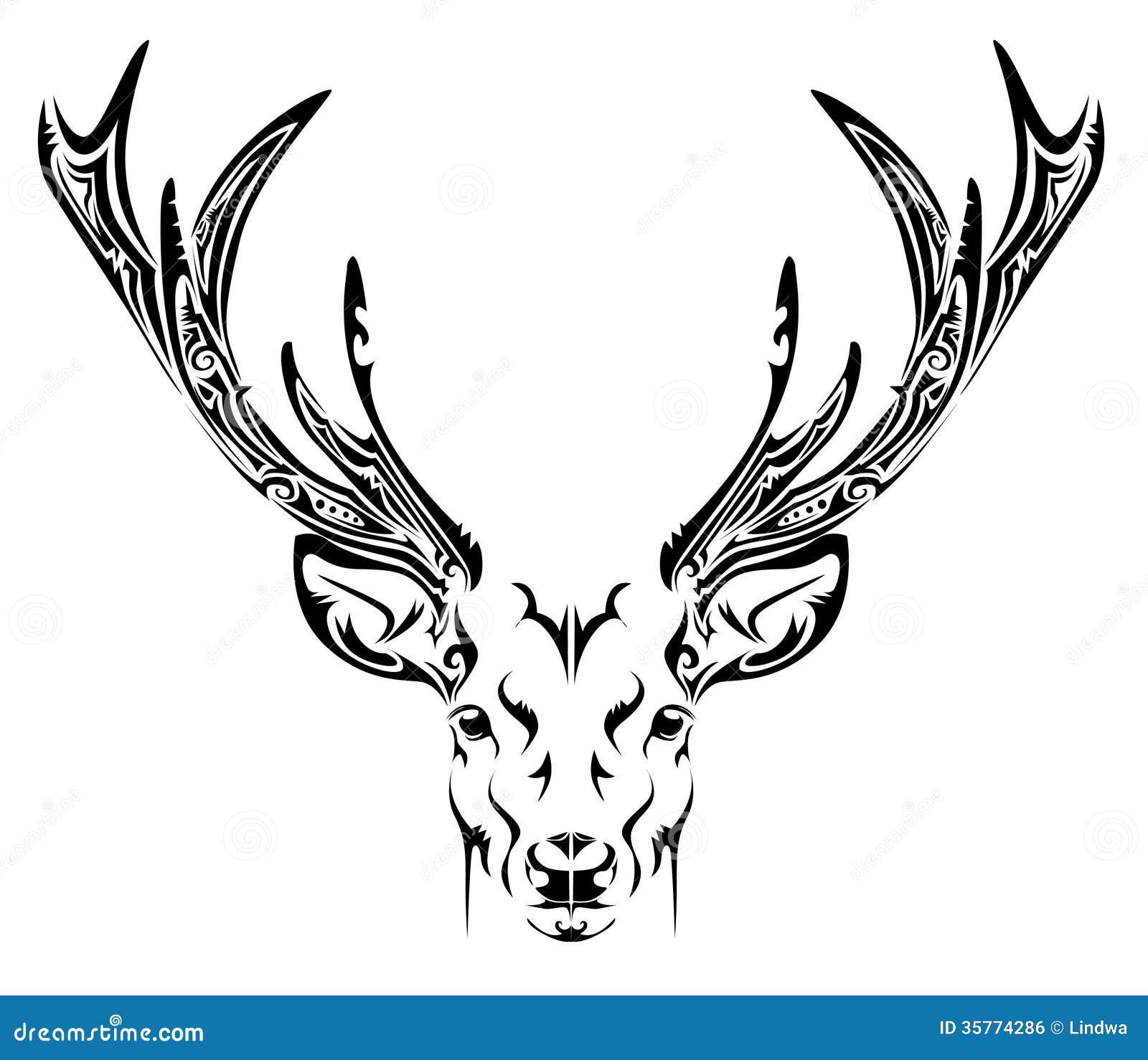 抽象鹿头部族纹身花刺