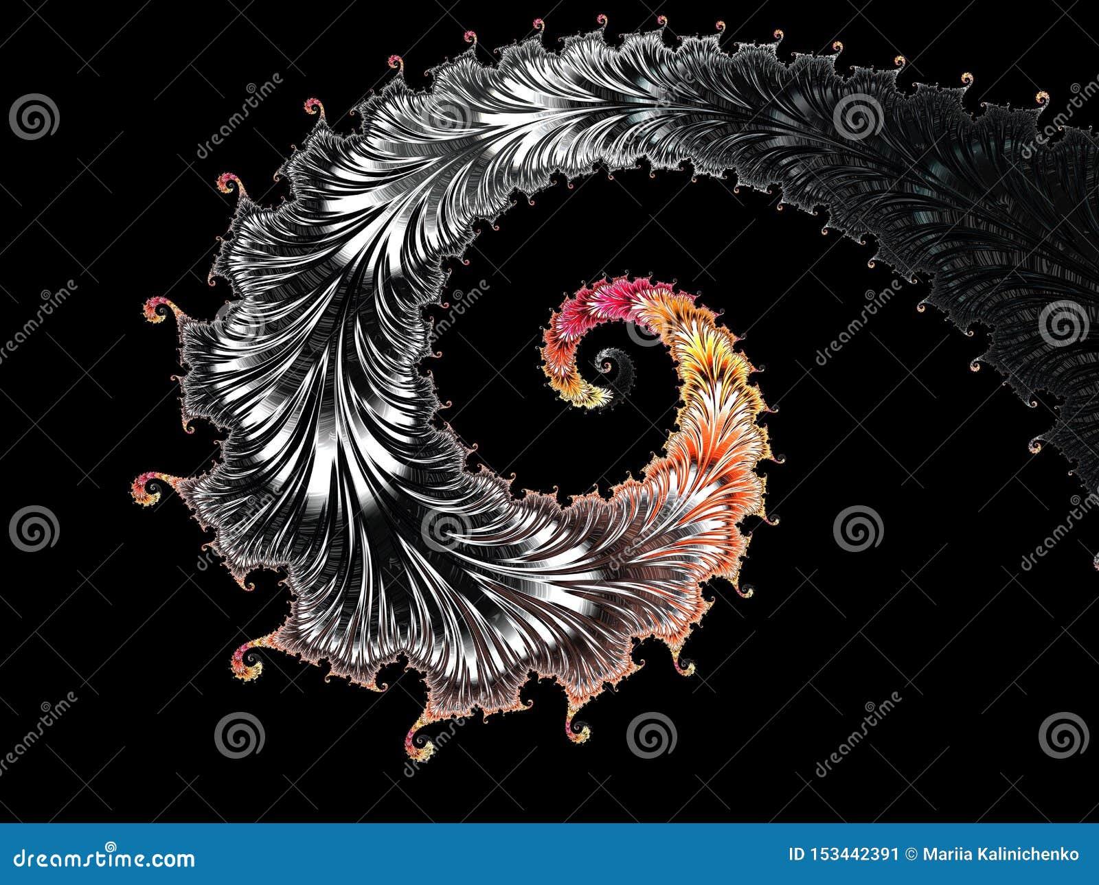 抽象黑,红色和黄色织地不很细螺旋分数维,3d为海报、设计和娱乐回报 r