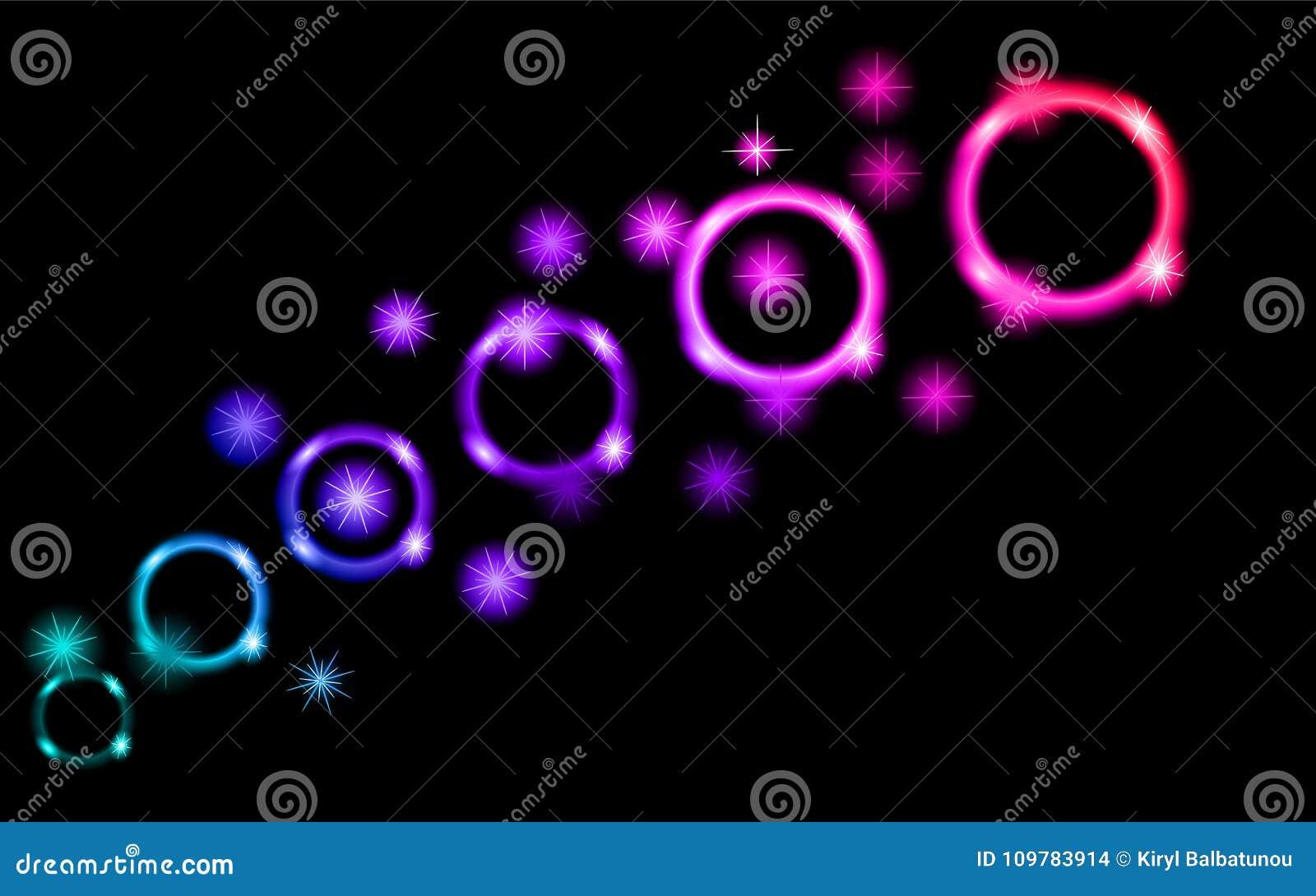 抽象,多彩多姿,霓虹,明亮,发光的圈子,球,泡影,与星的行星在空间黑背景  后面