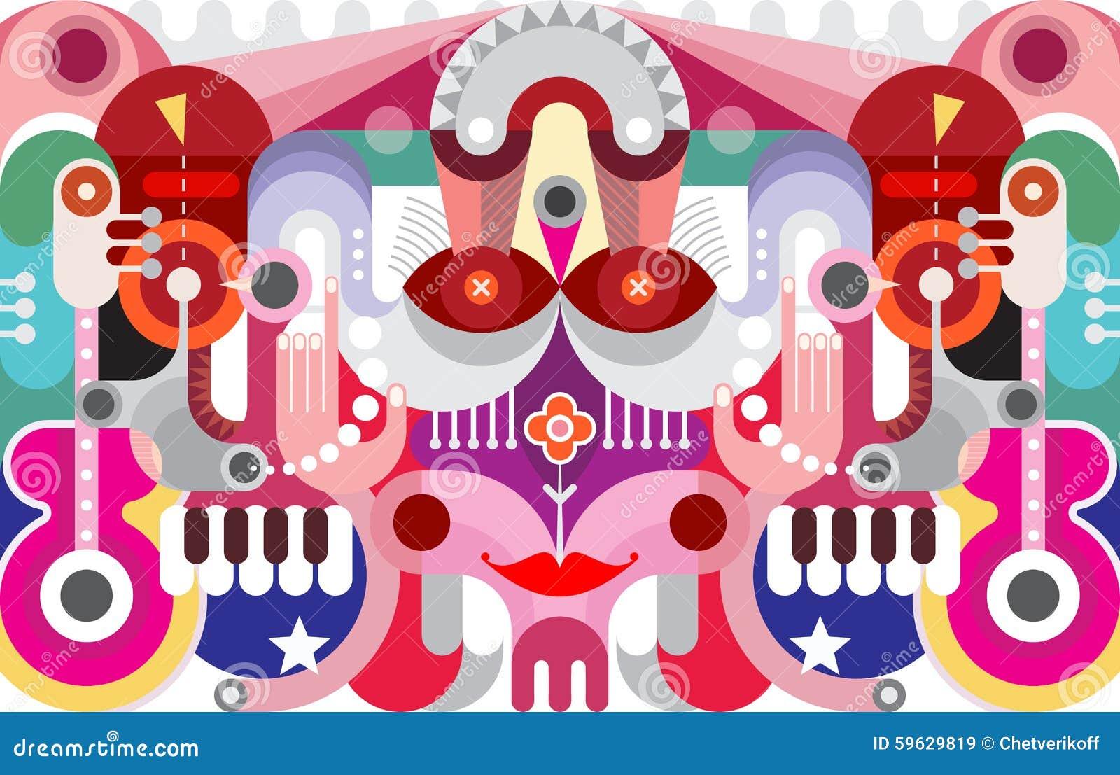 抽象派图形设计 背景五颜六色的向量 各种各样的对象和形状装饰拼贴画图片