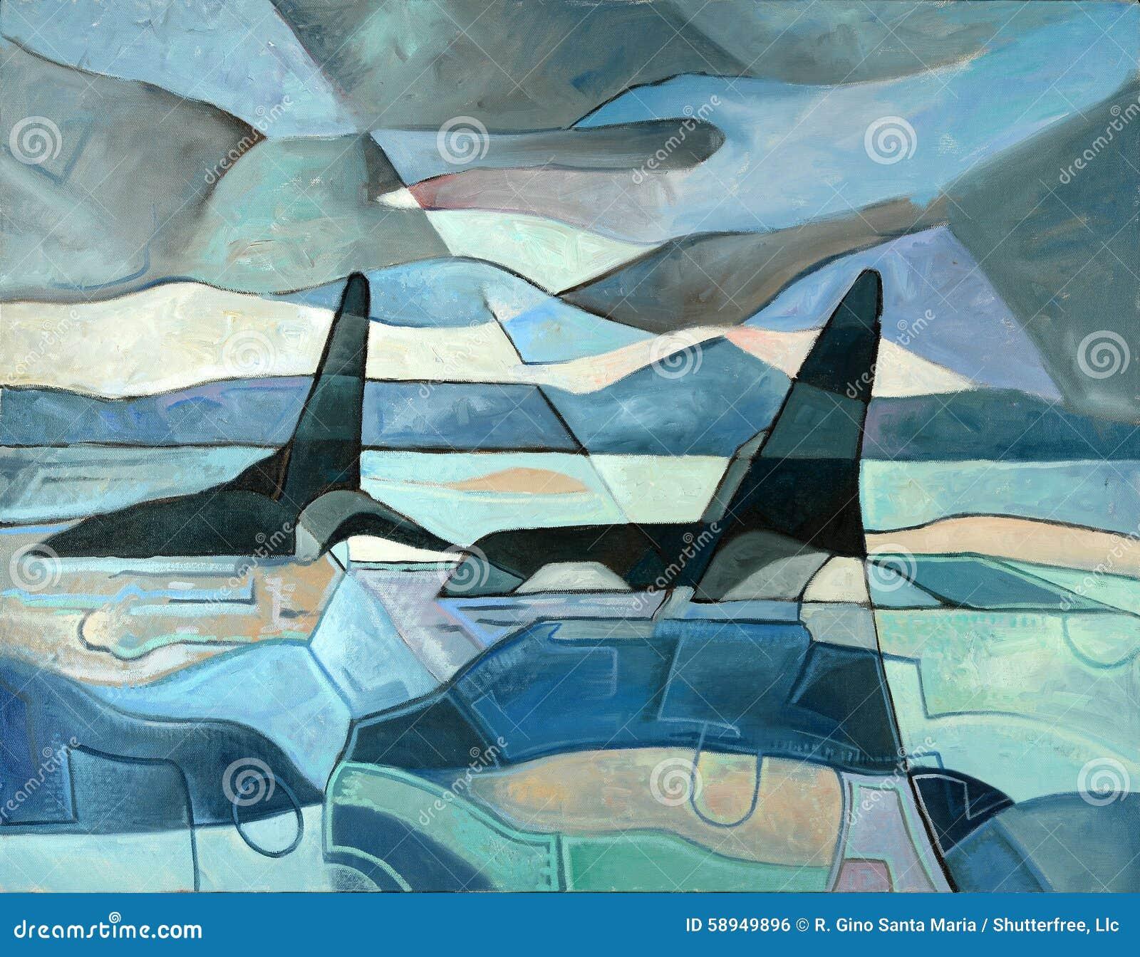 抽象绘画海怪游泳