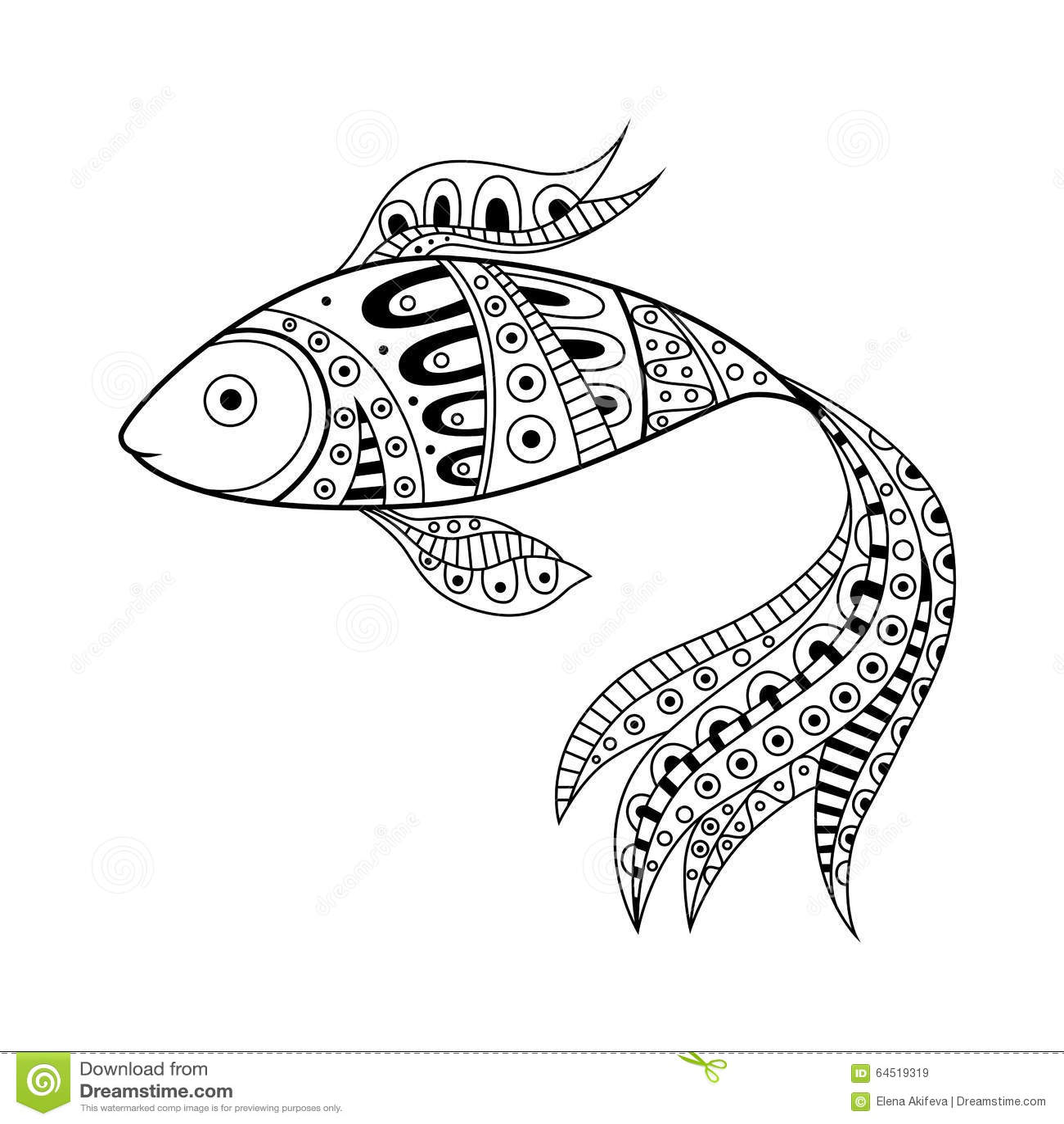 抽象黑白色鱼样式例证图片