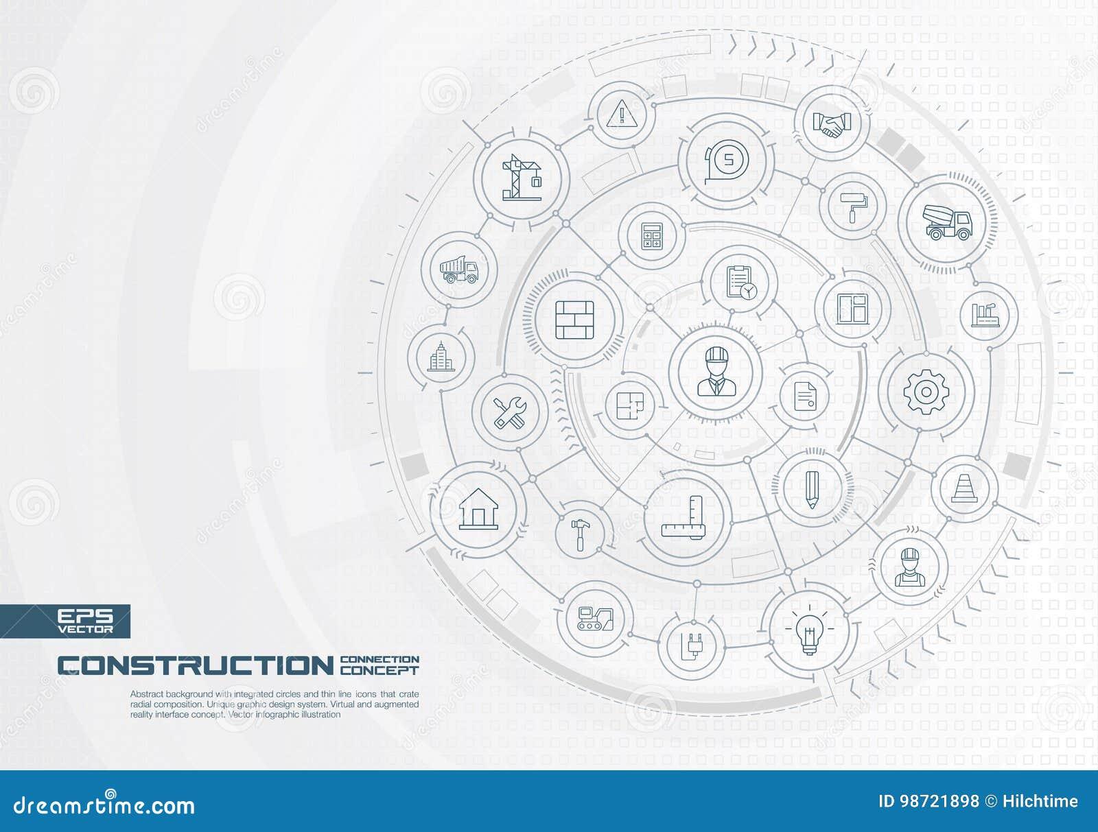 抽象建筑技术背景 数字式用联合圈子连接系统,稀薄的线象