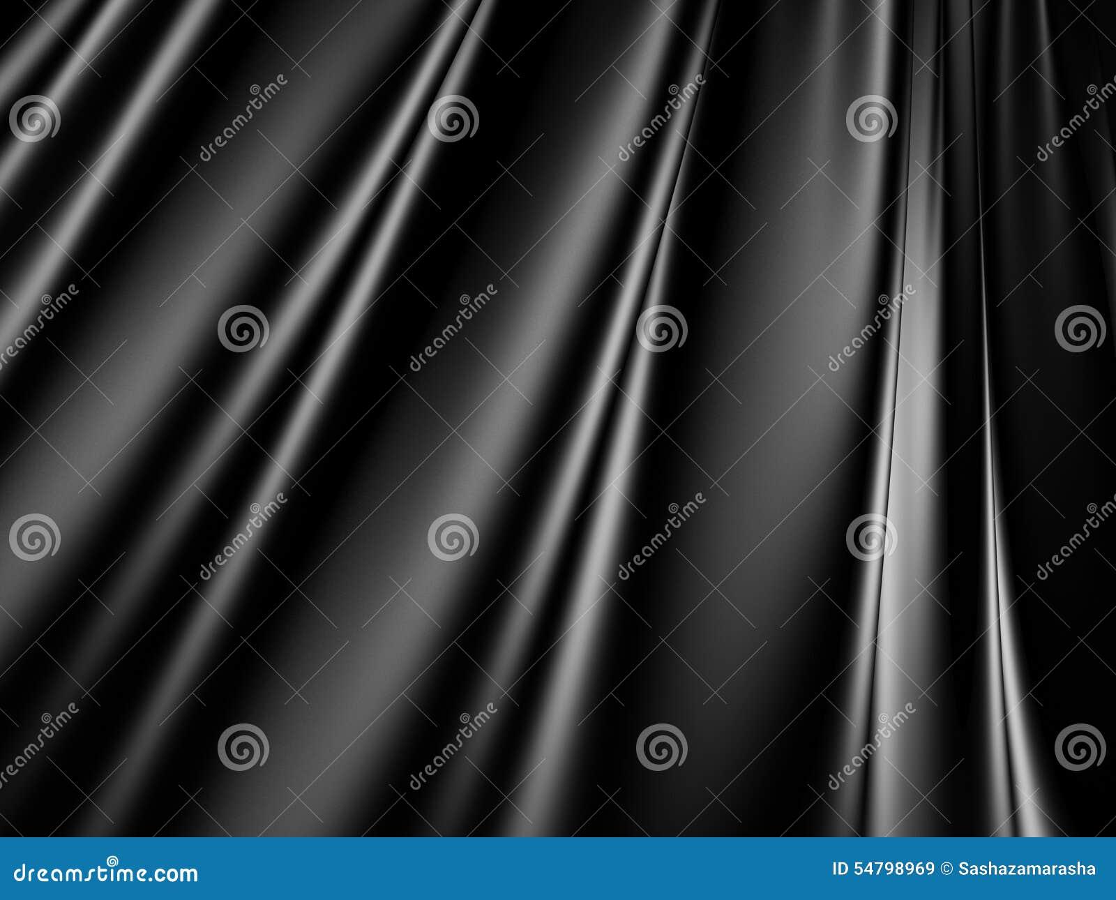 抽象黑缎丝绸布料挥动背景