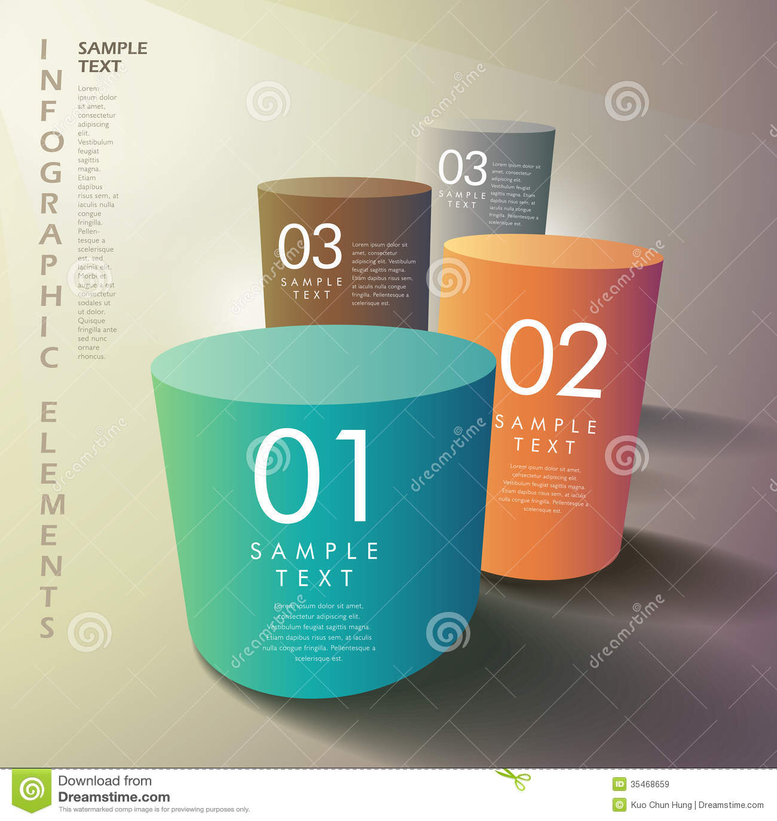 抽象3d圆筒infographics