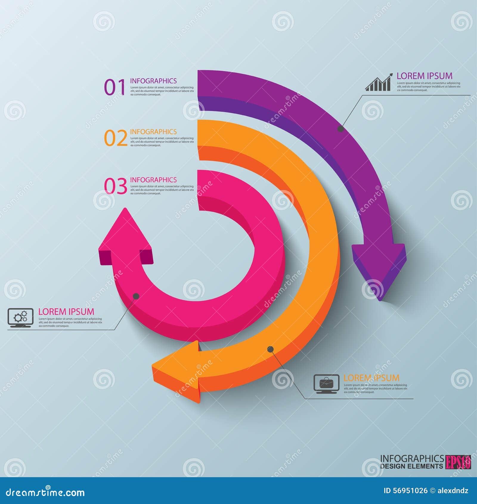 抽象3D纸Infographic