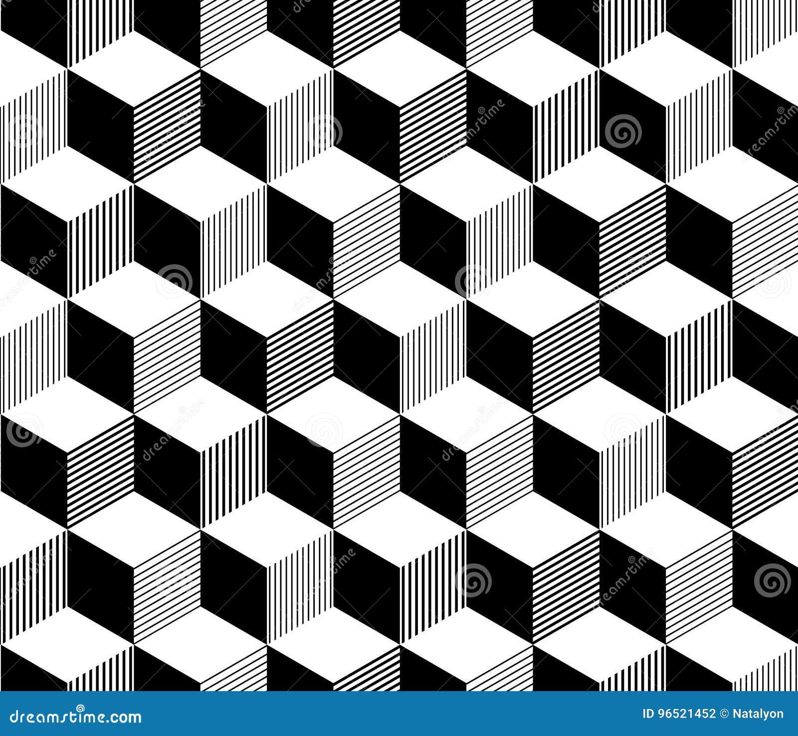 抽象3d镶边了在黑白的立方体几何无缝的样式,传染媒介