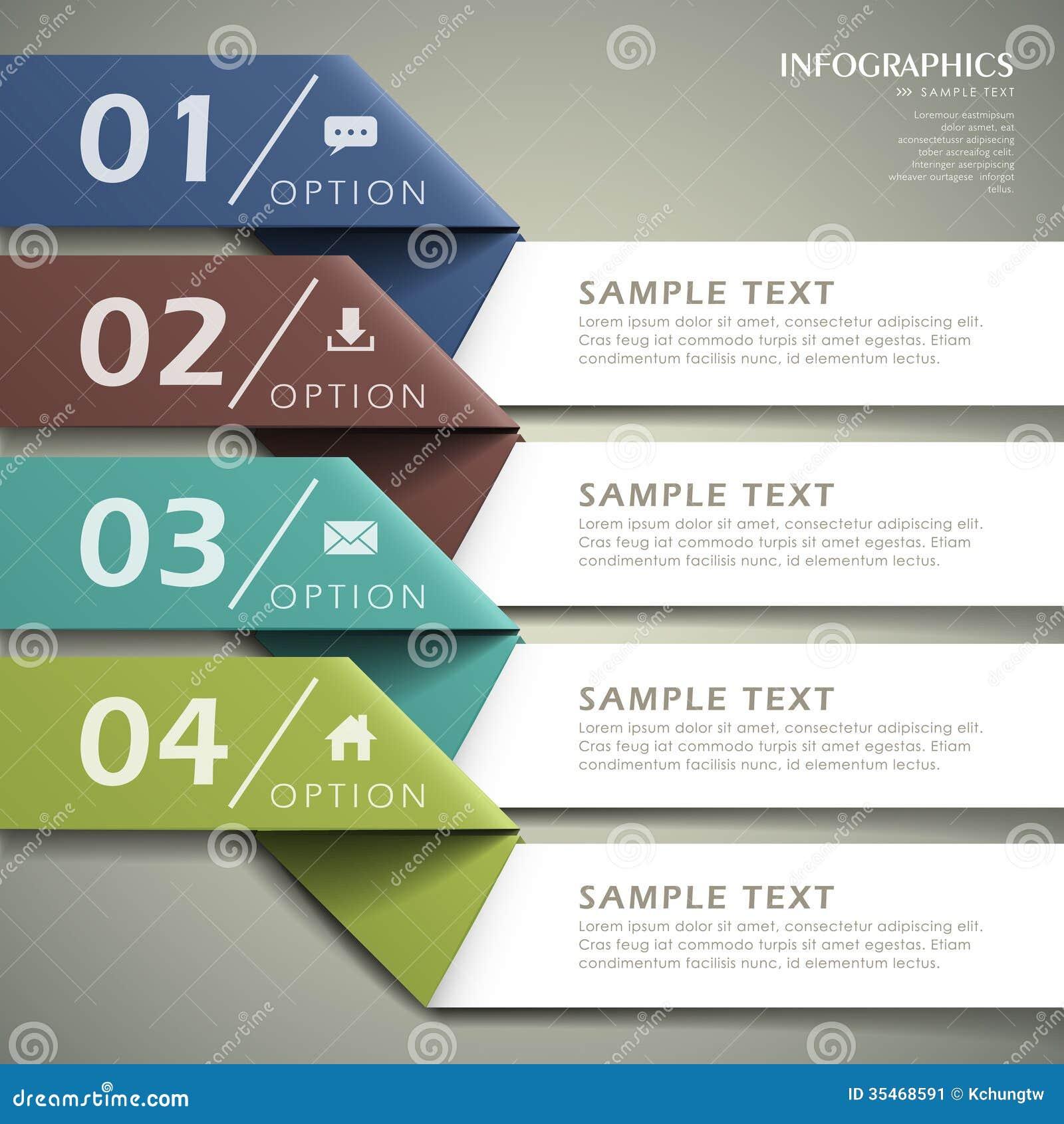抽象3d origami纸infographics