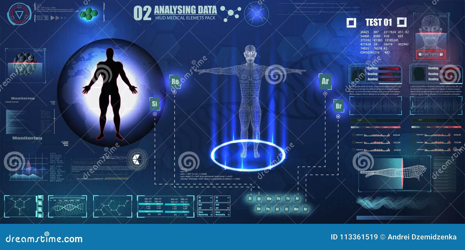 抽象hud接口数字资料图的全息图元素技术ui未来派概念人的数字式脱氧核糖核酸医疗保健,