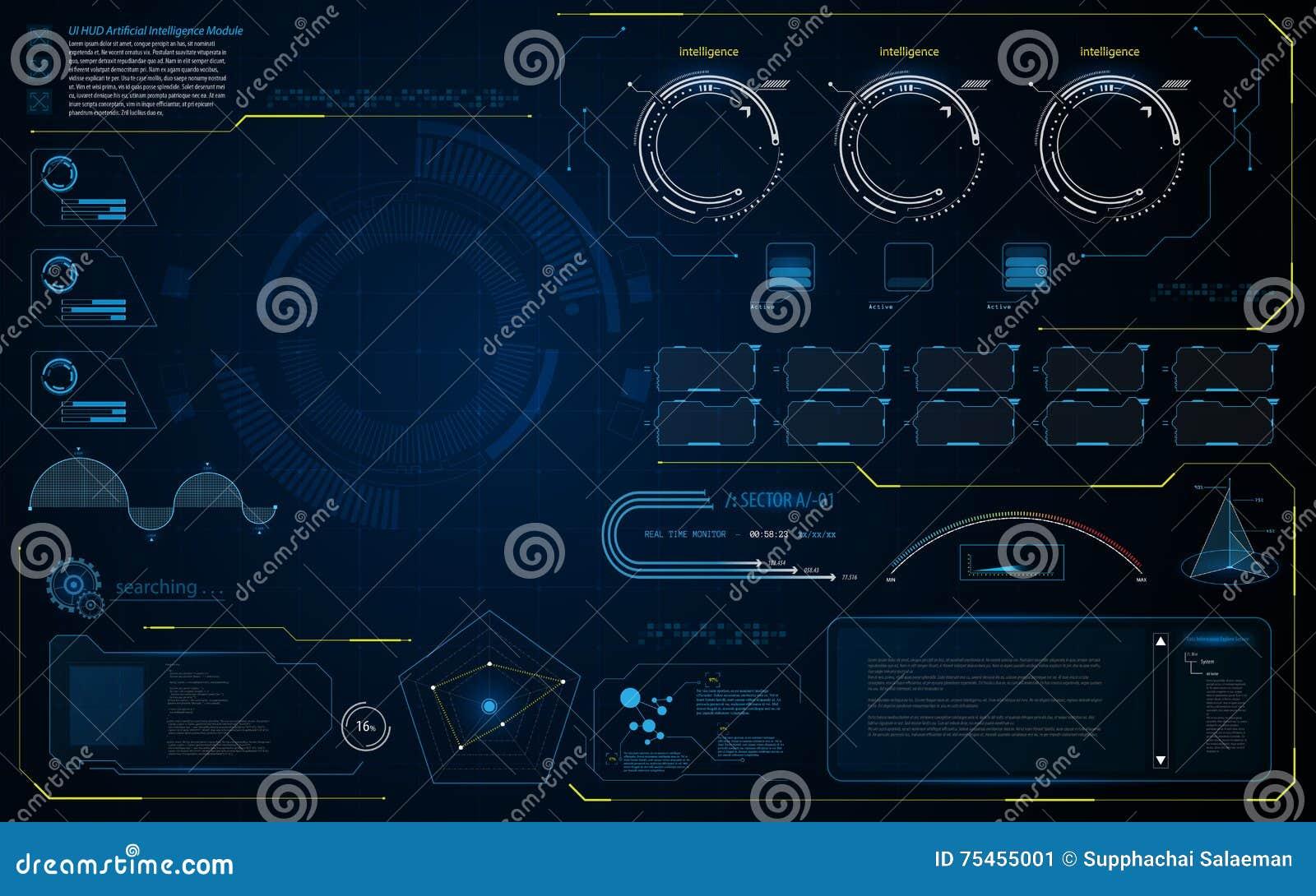 抽象HUD UI接口数据诊断conept设计模板背景