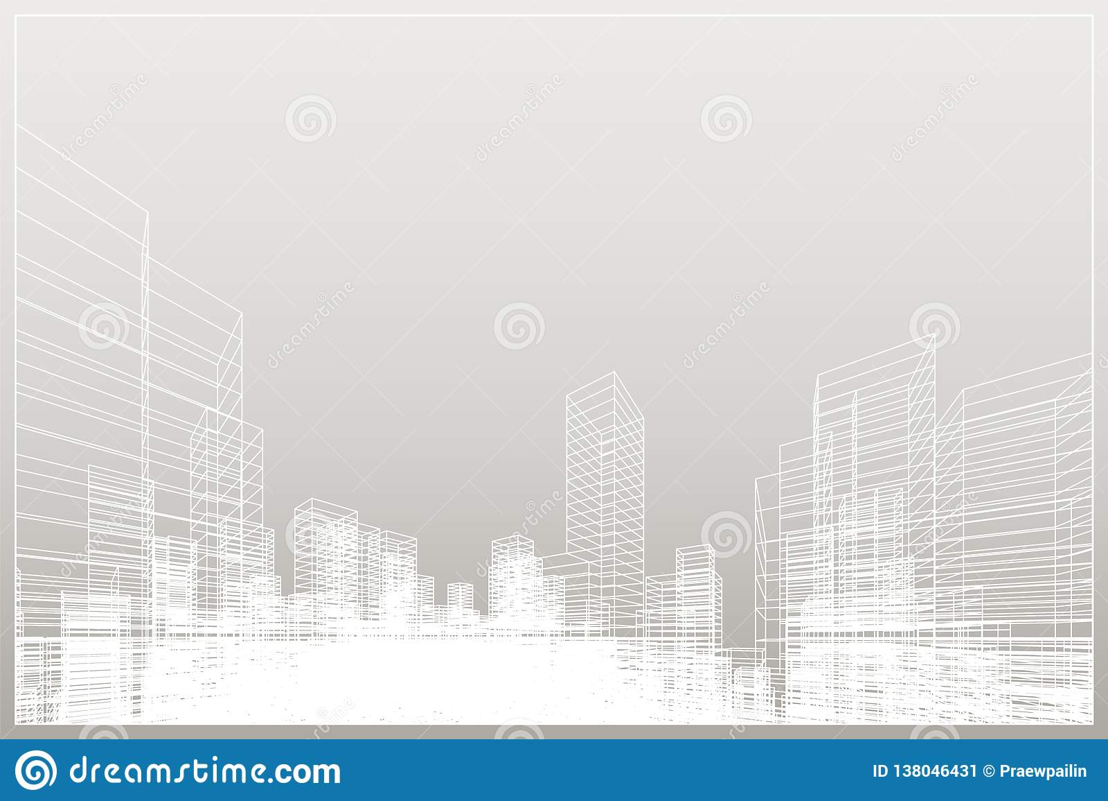 抽象wireframe城市背景 透视3D回报大厦wireframe 向量