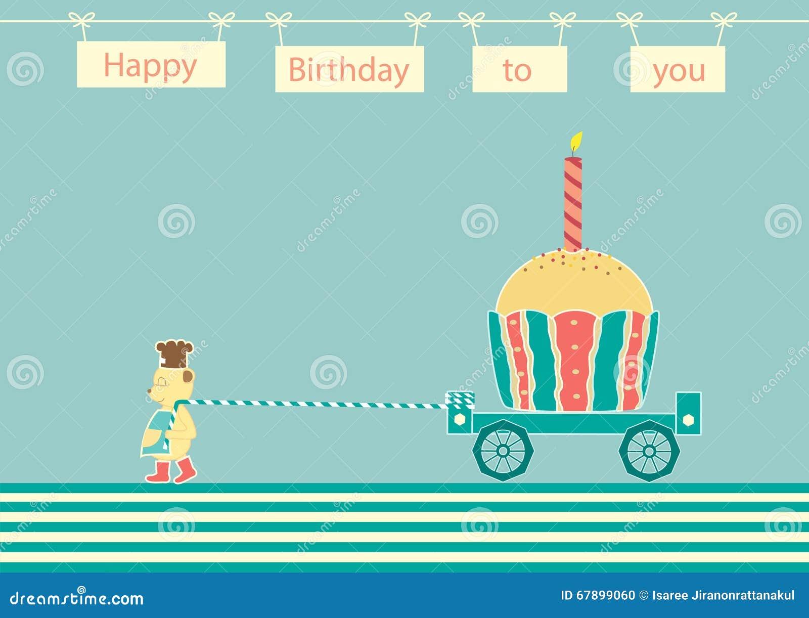 负担厨师与杯形蛋糕生日,生日贺卡的设计
