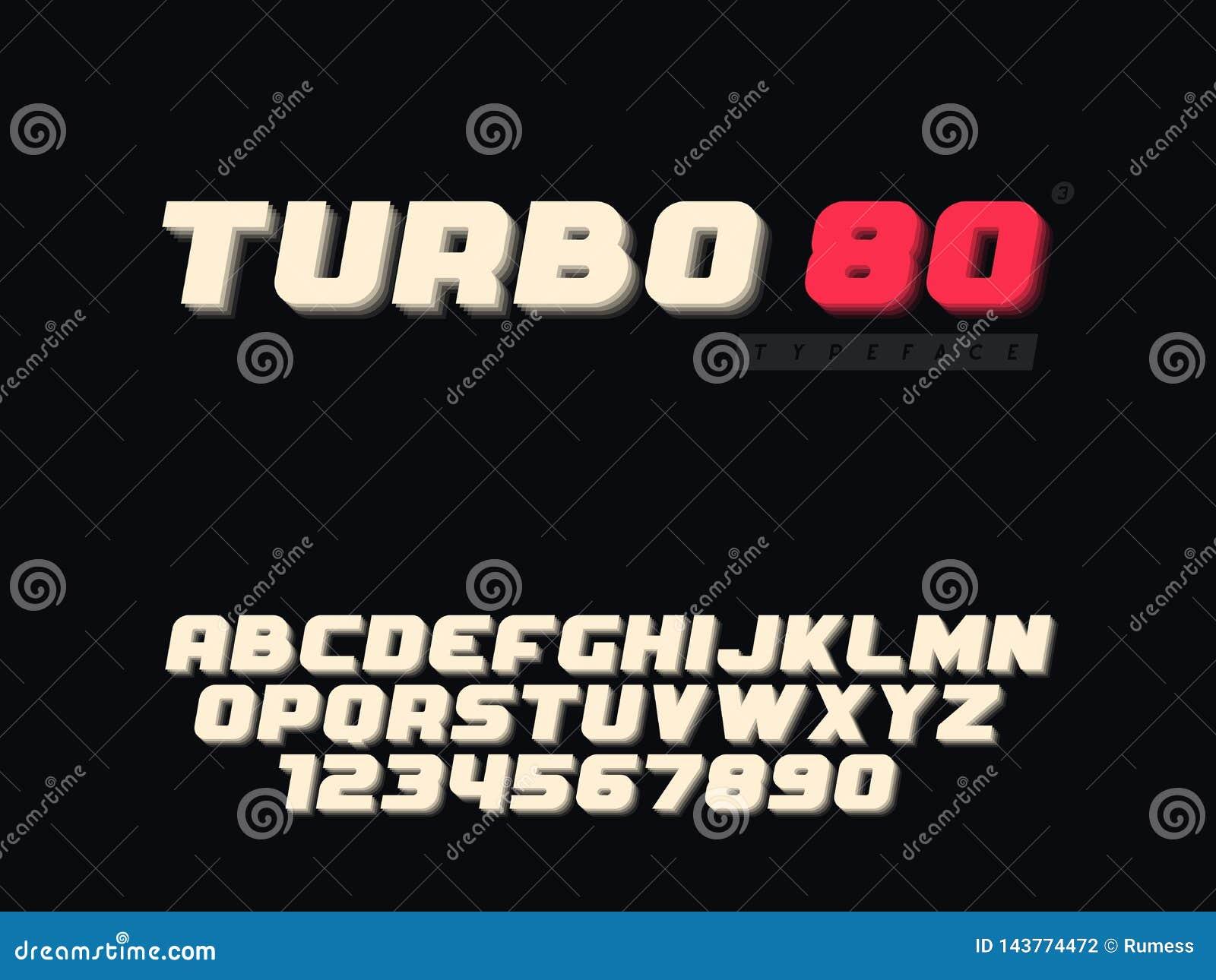 拉丁大写字母表信件和数字 减速火箭的3d字体 也corel凹道例证向量