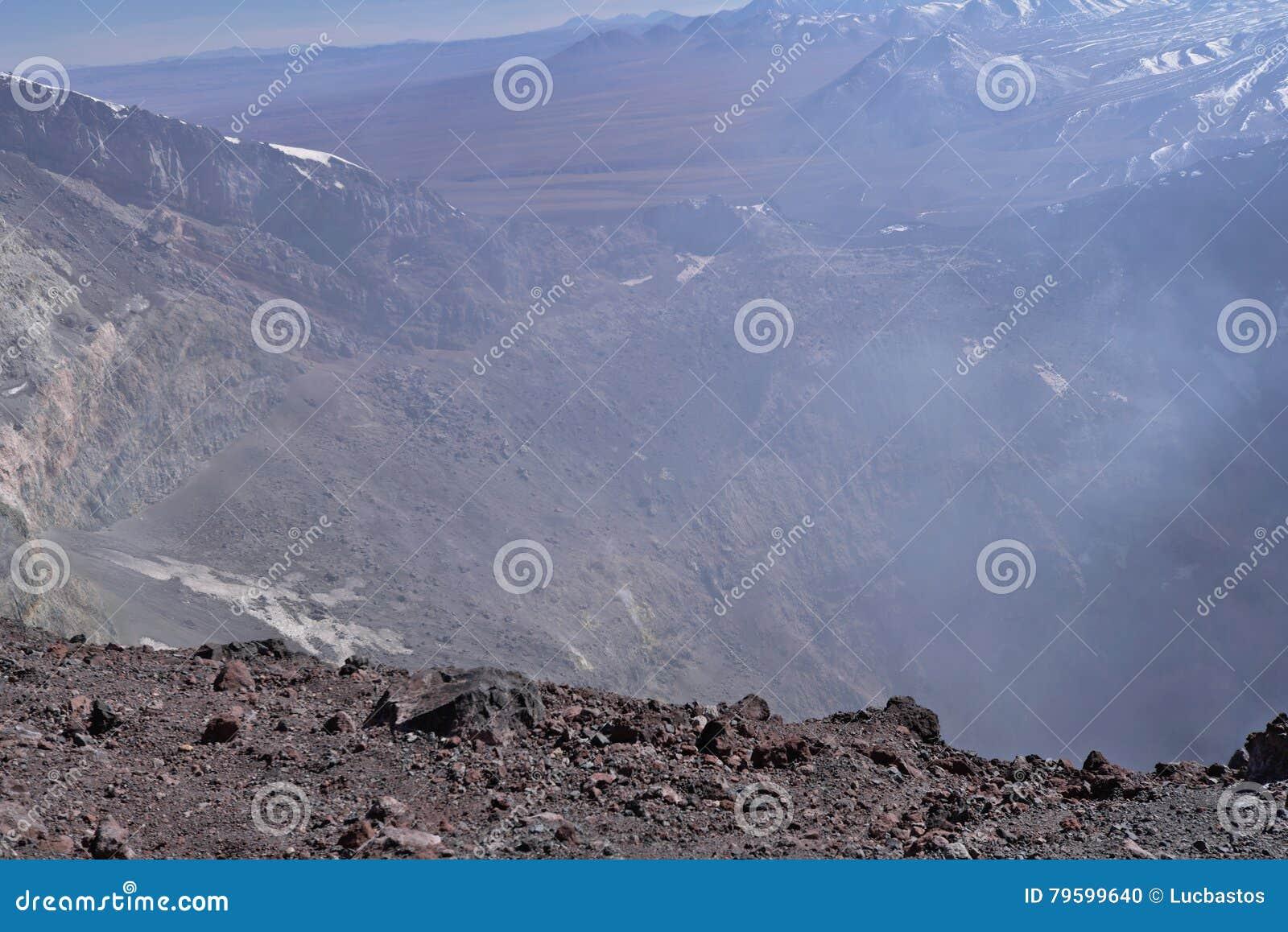 拉斯卡尔火山与喷气孔的火山火山口