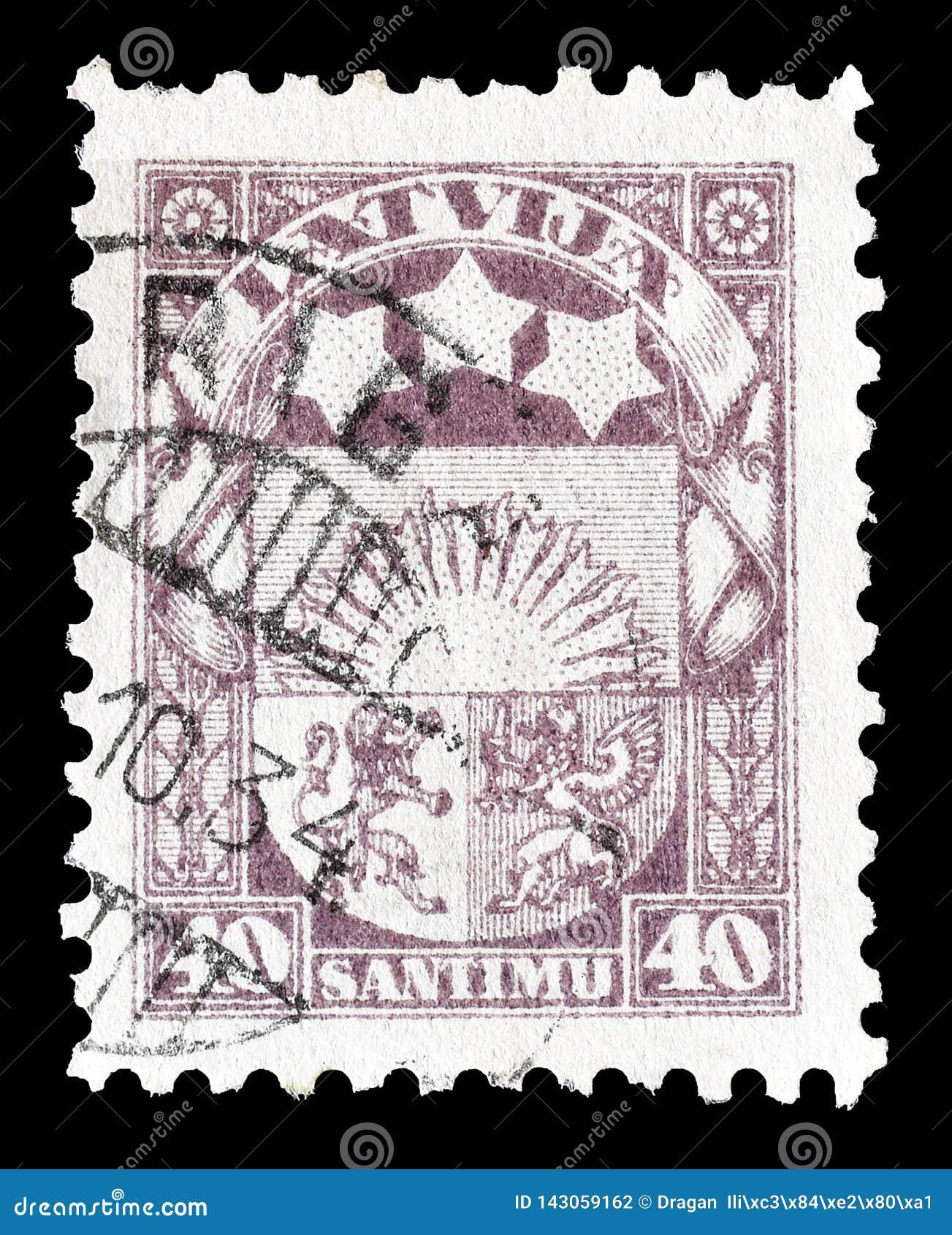 拉脱维亚打印的邮票