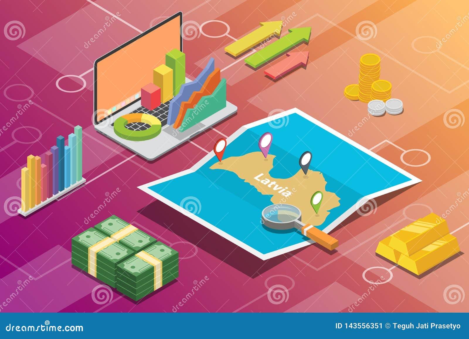 拉脱维亚等量企业经济成长国家以地图和财务情况-传染媒介