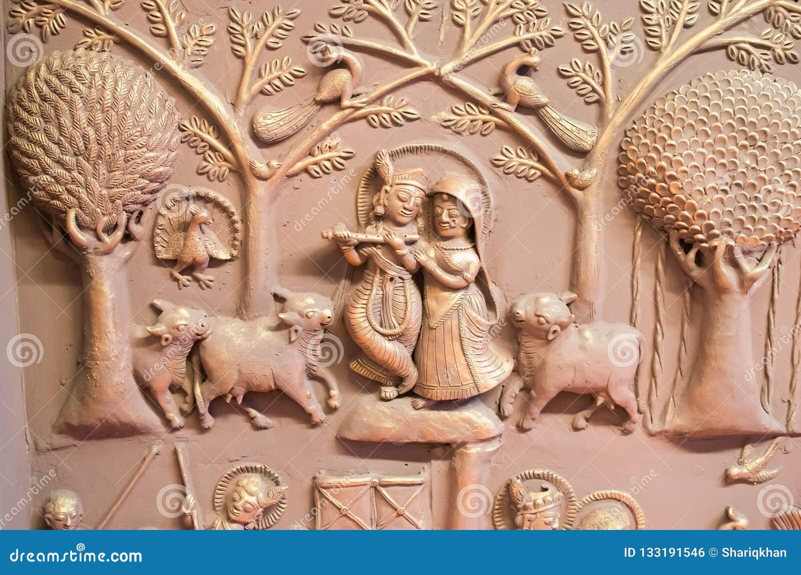 拉达Krishana墙壁上的墙壁艺术印度