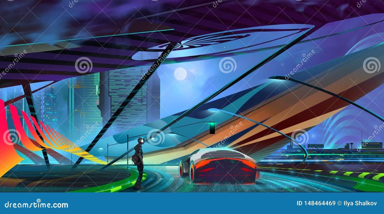 拉长的与汽车的夜背景意想不到的计算机国际庞克都市风景