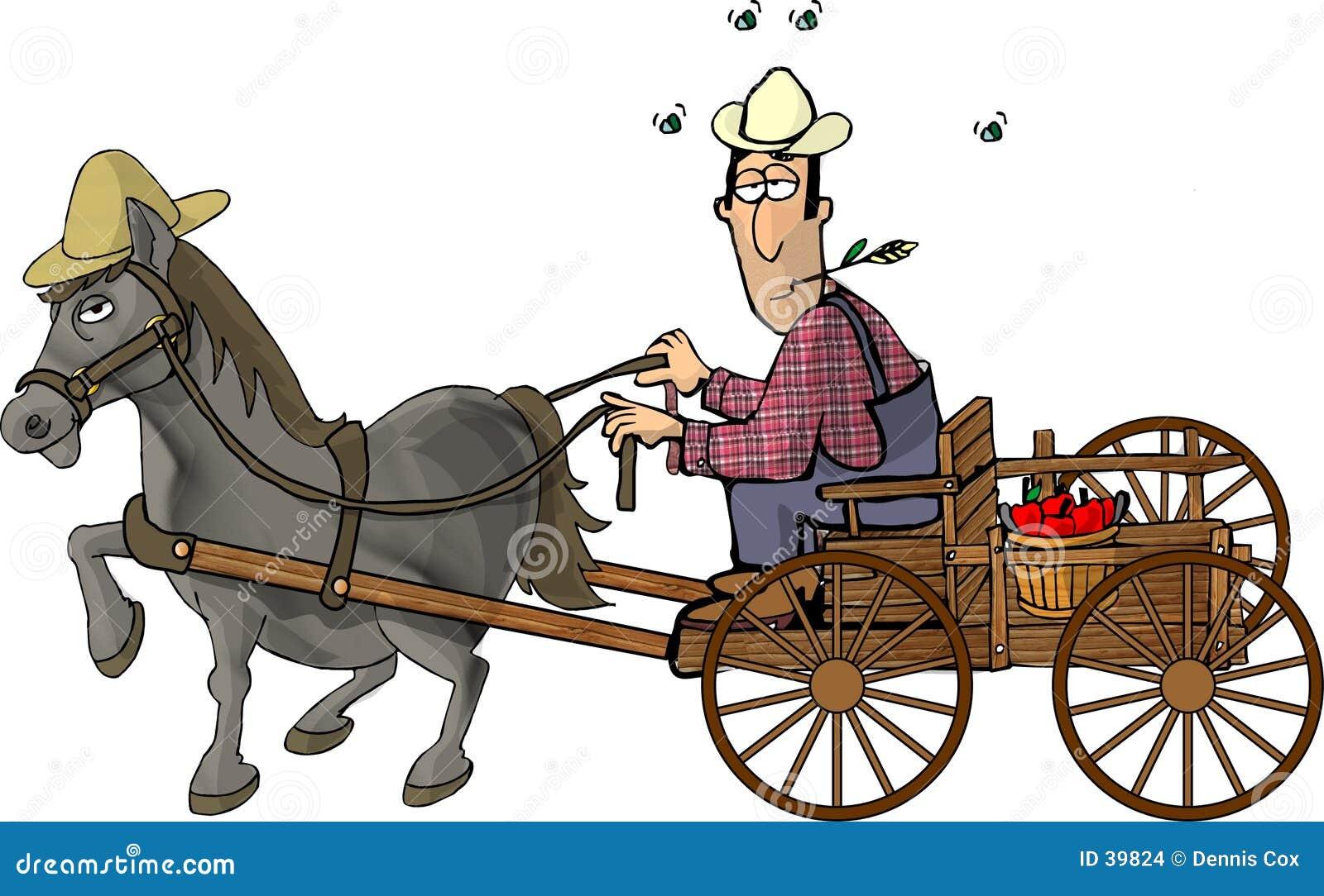 拉长的农夫他的马无盖货车