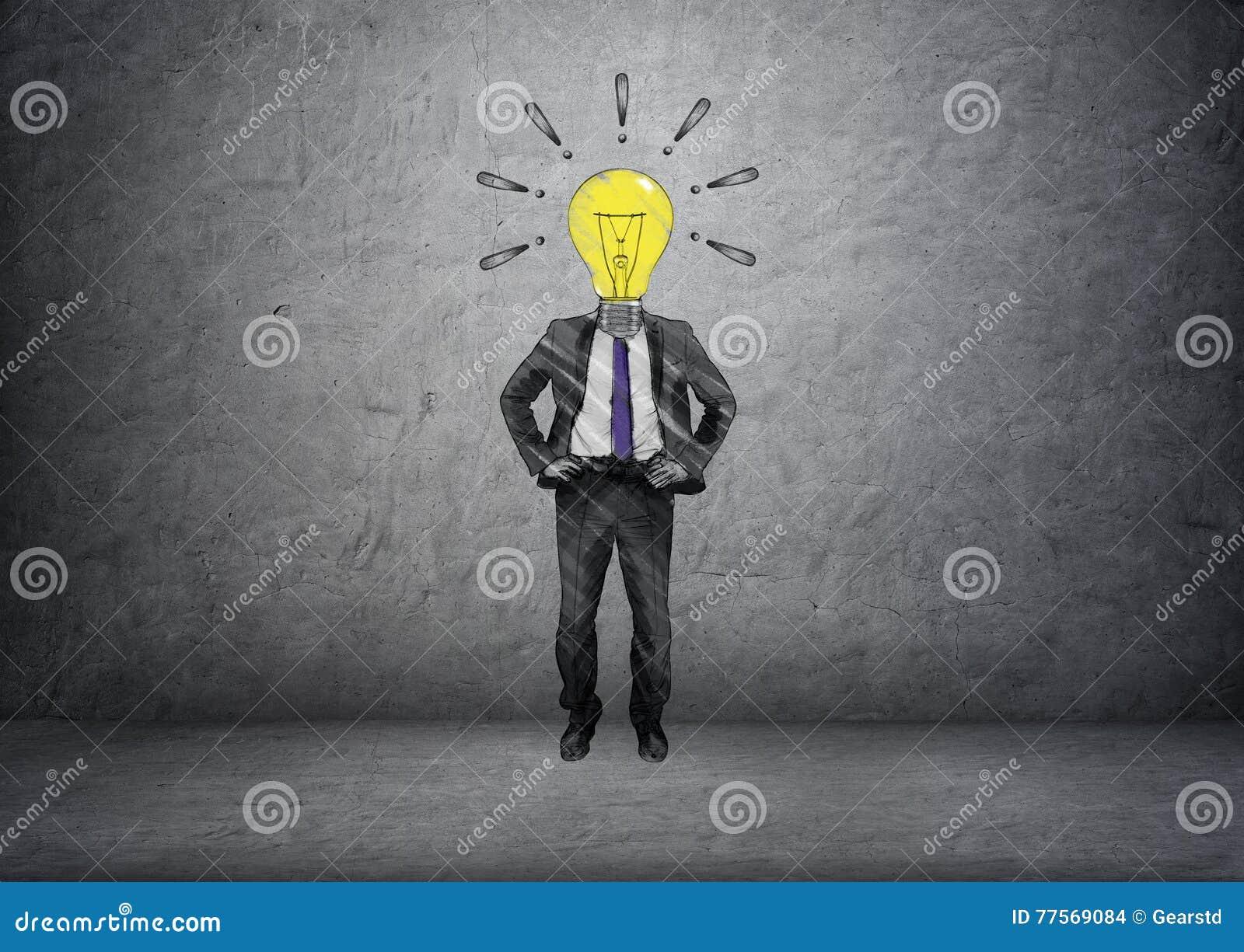拉长的灯带头的商人正面图与惊叹号的在他的头附近