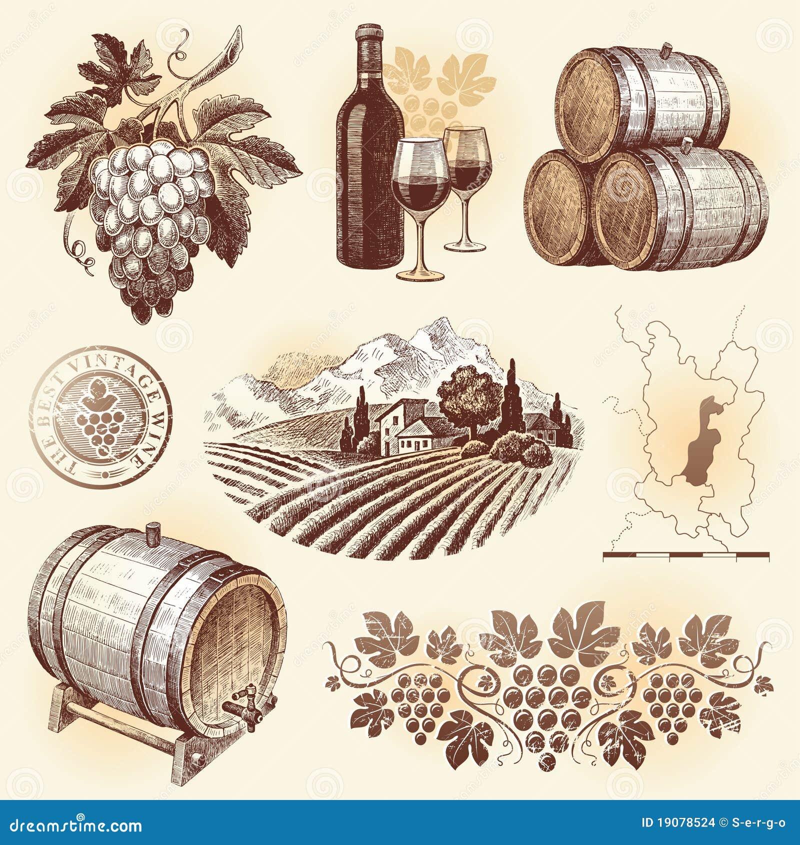 拉长的现有量集合酒葡萄酒酿造