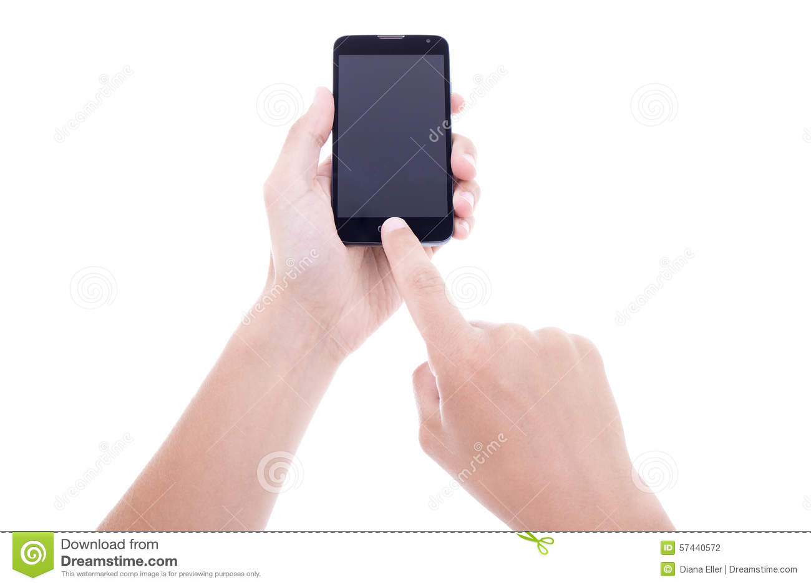 拍与流动巧妙的电话的男性手照片有空白的scree的