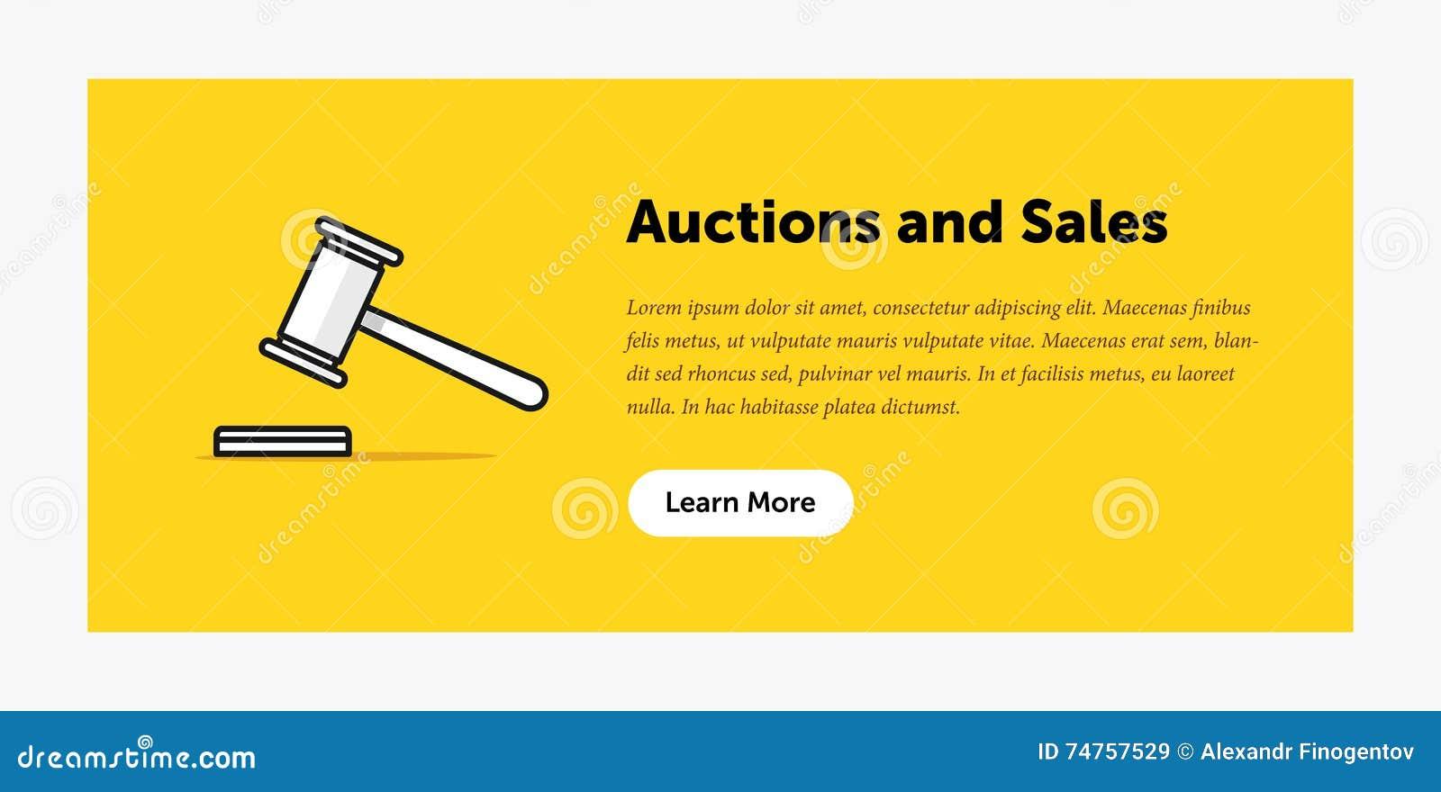 拍卖锤子例证 关于新的出价的公告 万维网横幅 平的样式设计