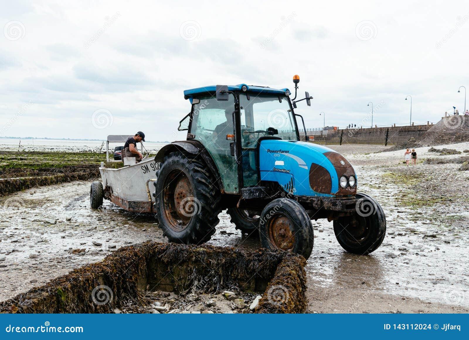 拖拉机在牡蛎农场处于低潮中在康卡尔