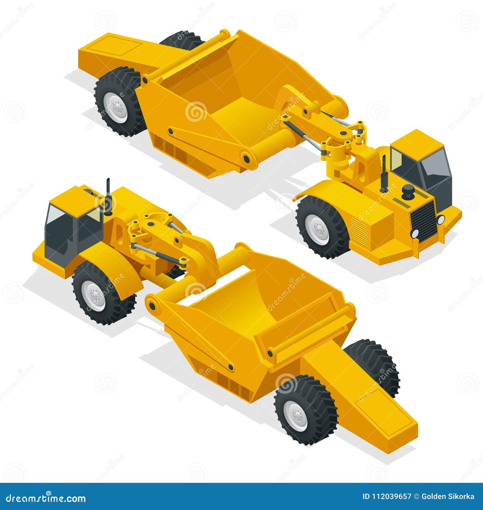 拖拉机式铲运机等量的轮子 转动用于掘土工的拖拉机式铲运机,重的设备 刮板传送带