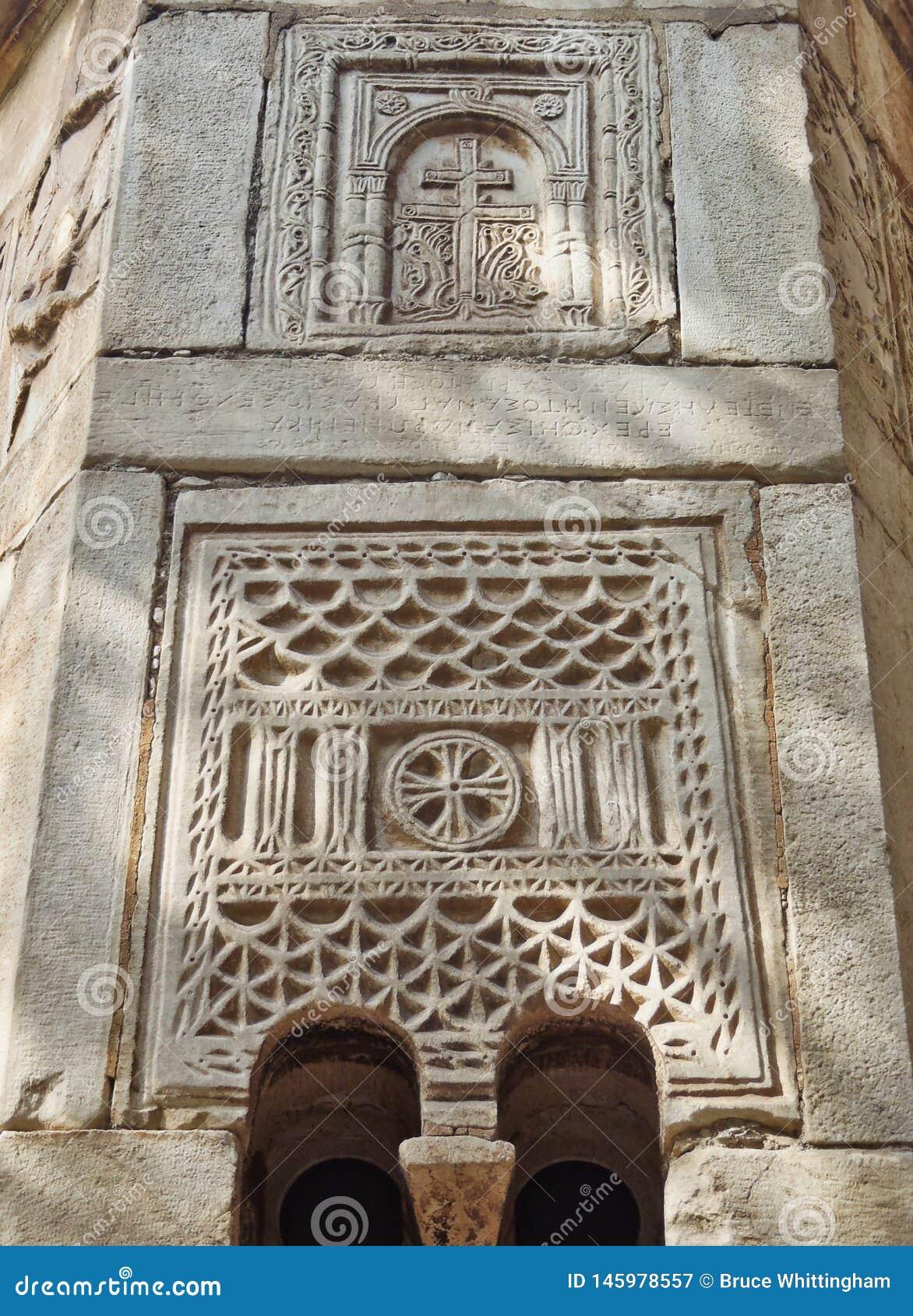 拜占庭式的石制品,小的大都会教会,雅典,希腊细节