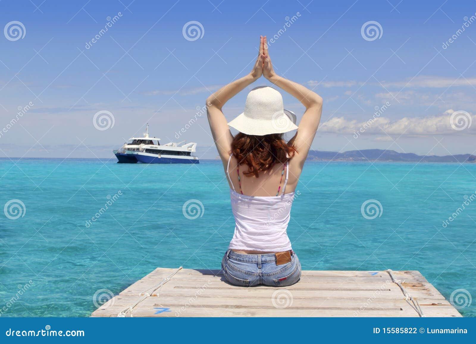 拜雷阿尔斯formentera放松海运热带女子瑜伽