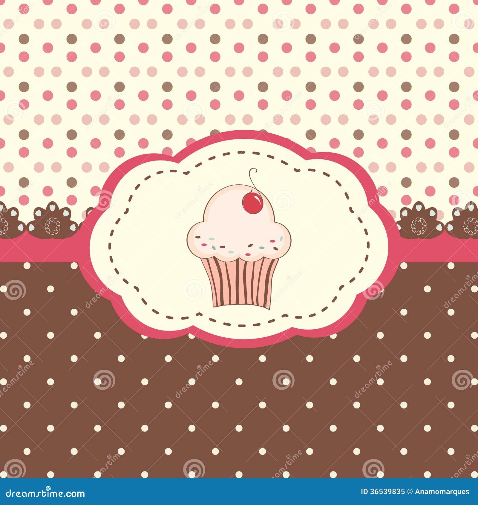 拟订菜单用杯形蛋糕和圆点背景