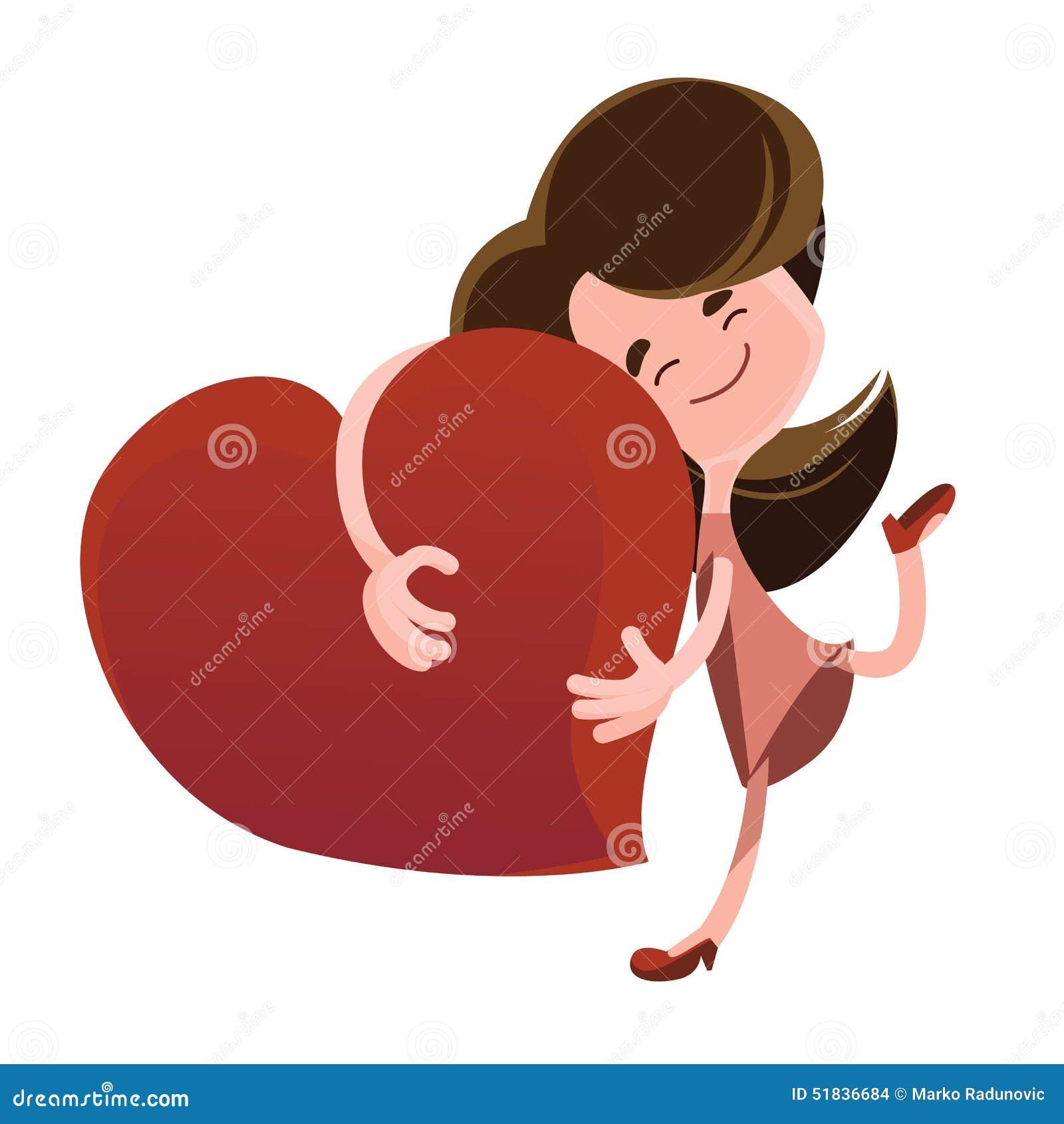 拥抱红色心脏例证漫画人物的妇女 享用:).图片