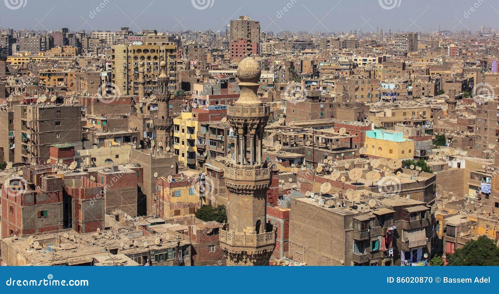 拥挤开罗鸟瞰图在埃及在非洲