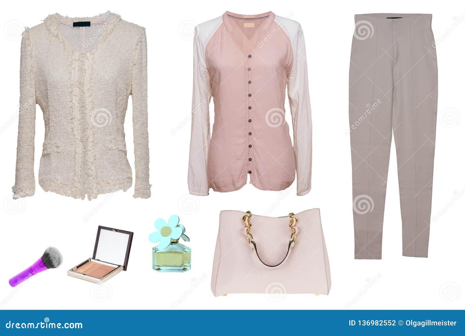 拼贴画妇女衣裳 设置时髦和时髦妇女女衬衫、裤子、提包和辅助部件在白色背景