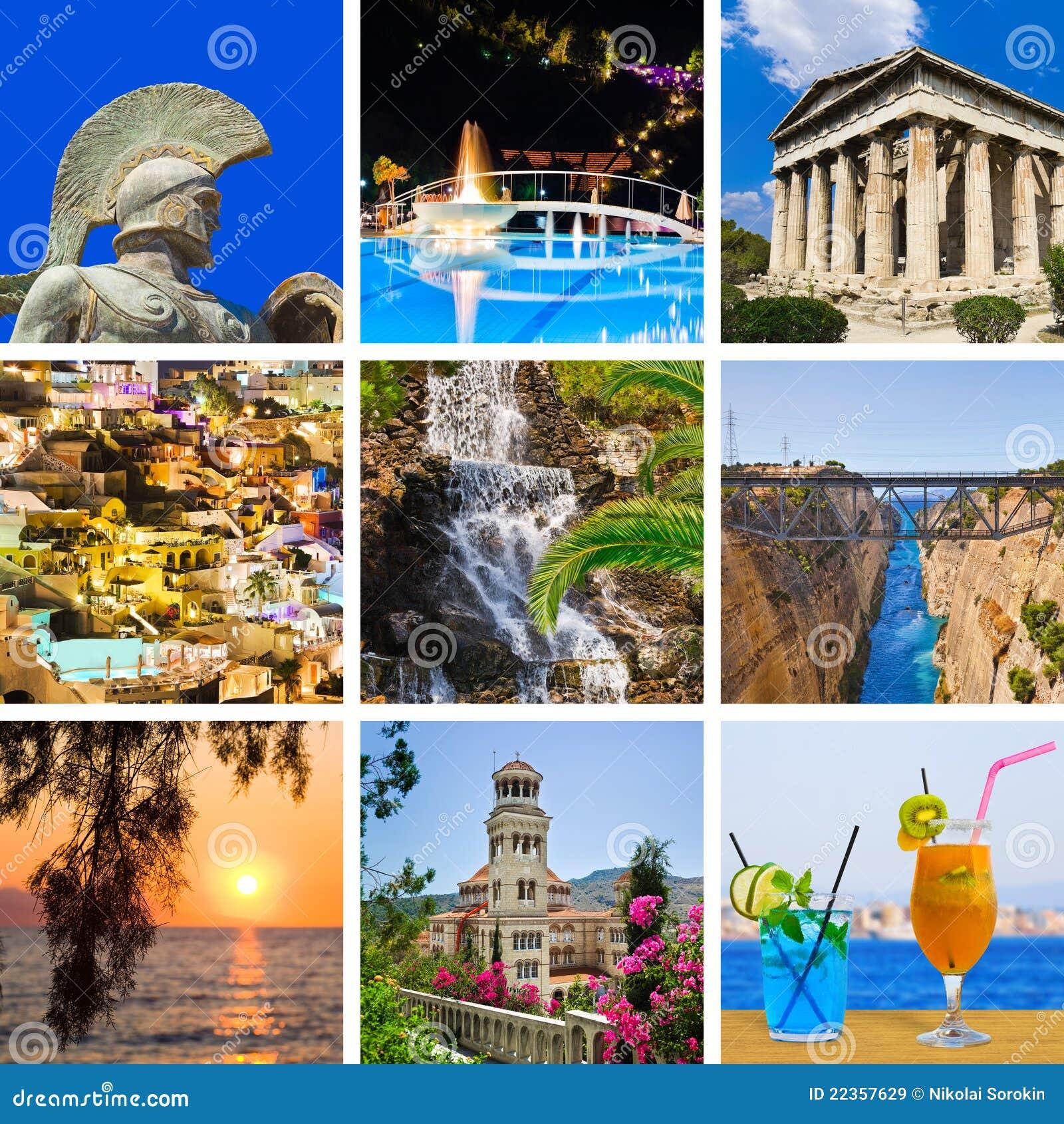 拼贴画希腊图象旅行